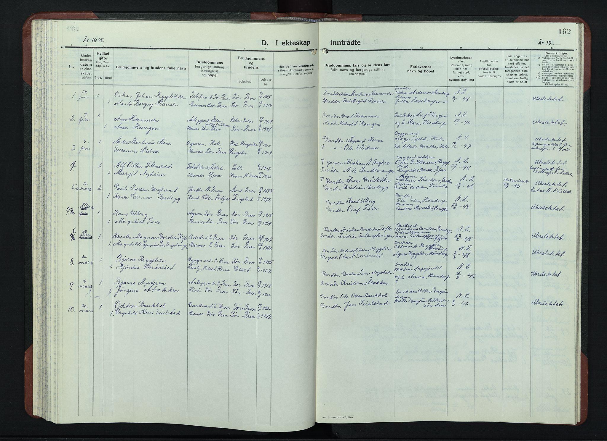 SAH, Sør-Fron prestekontor, H/Ha/Hab/L0006: Klokkerbok nr. 6, 1933-1948, s. 162