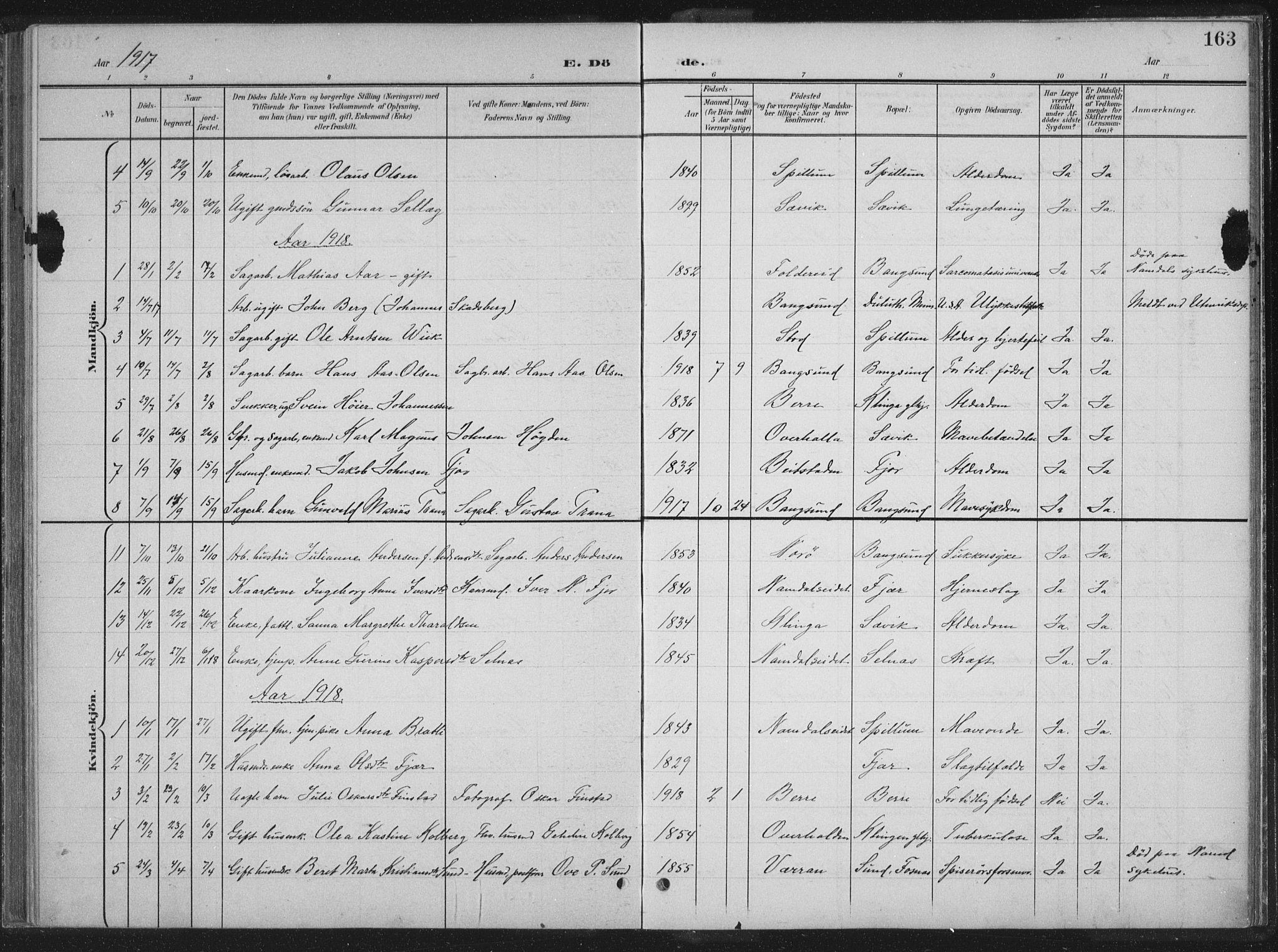 SAT, Ministerialprotokoller, klokkerbøker og fødselsregistre - Nord-Trøndelag, 770/L0591: Klokkerbok nr. 770C02, 1902-1940, s. 163