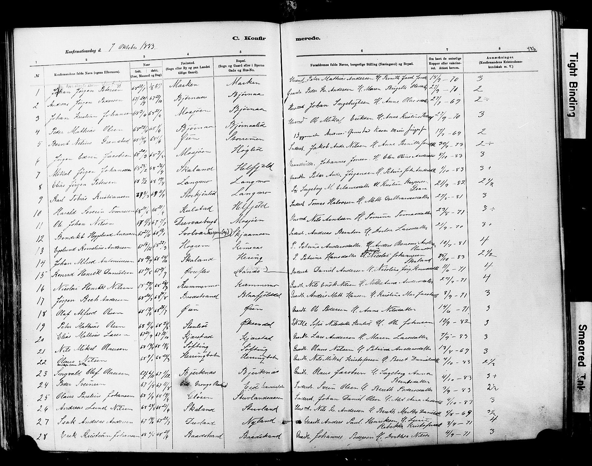SAT, Ministerialprotokoller, klokkerbøker og fødselsregistre - Nordland, 820/L0295: Ministerialbok nr. 820A16, 1880-1896, s. 186
