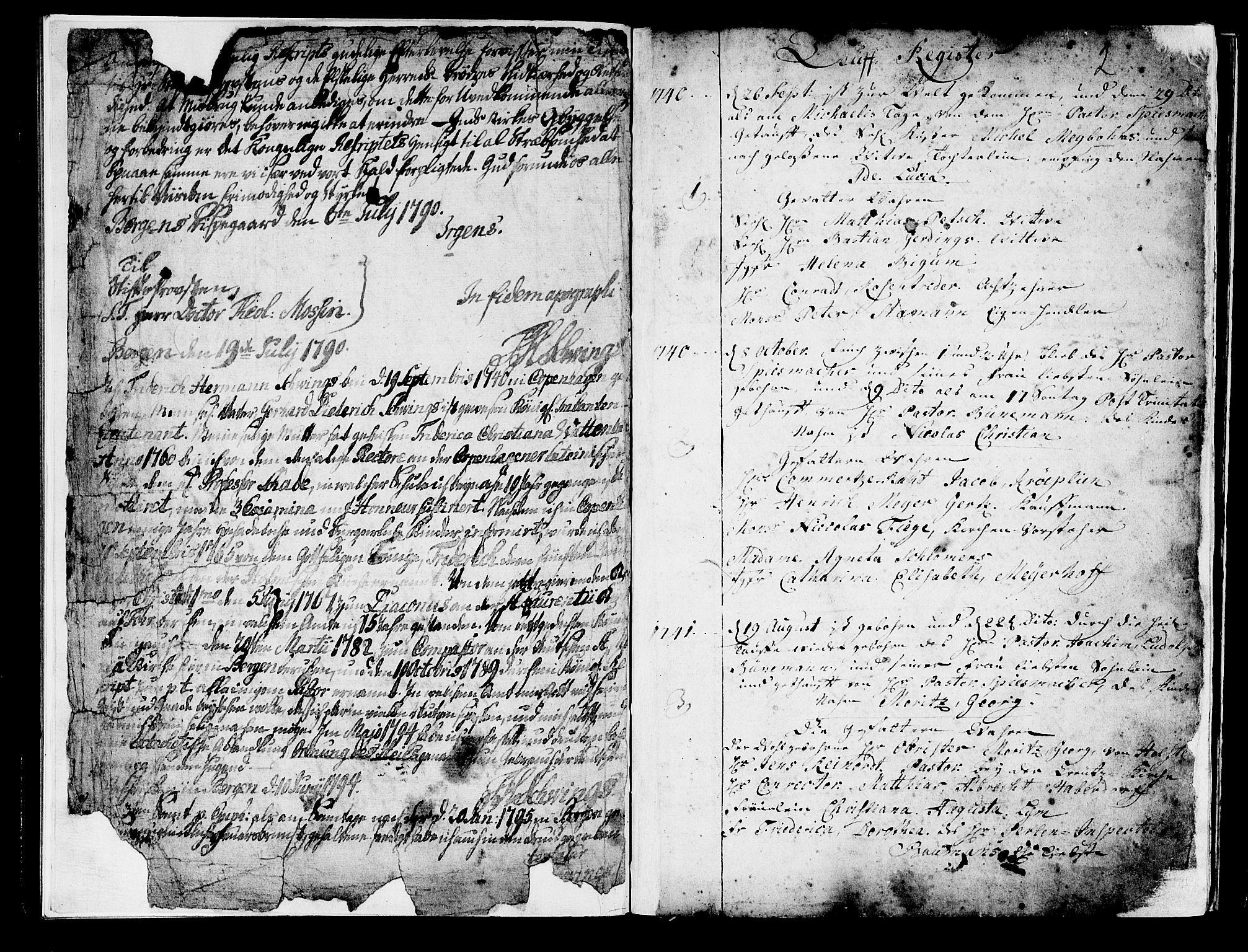 SAB, Mariakirken Sokneprestembete, H/Haa/L0001: Ministerialbok nr. A 1, 1740-1784, s. 2