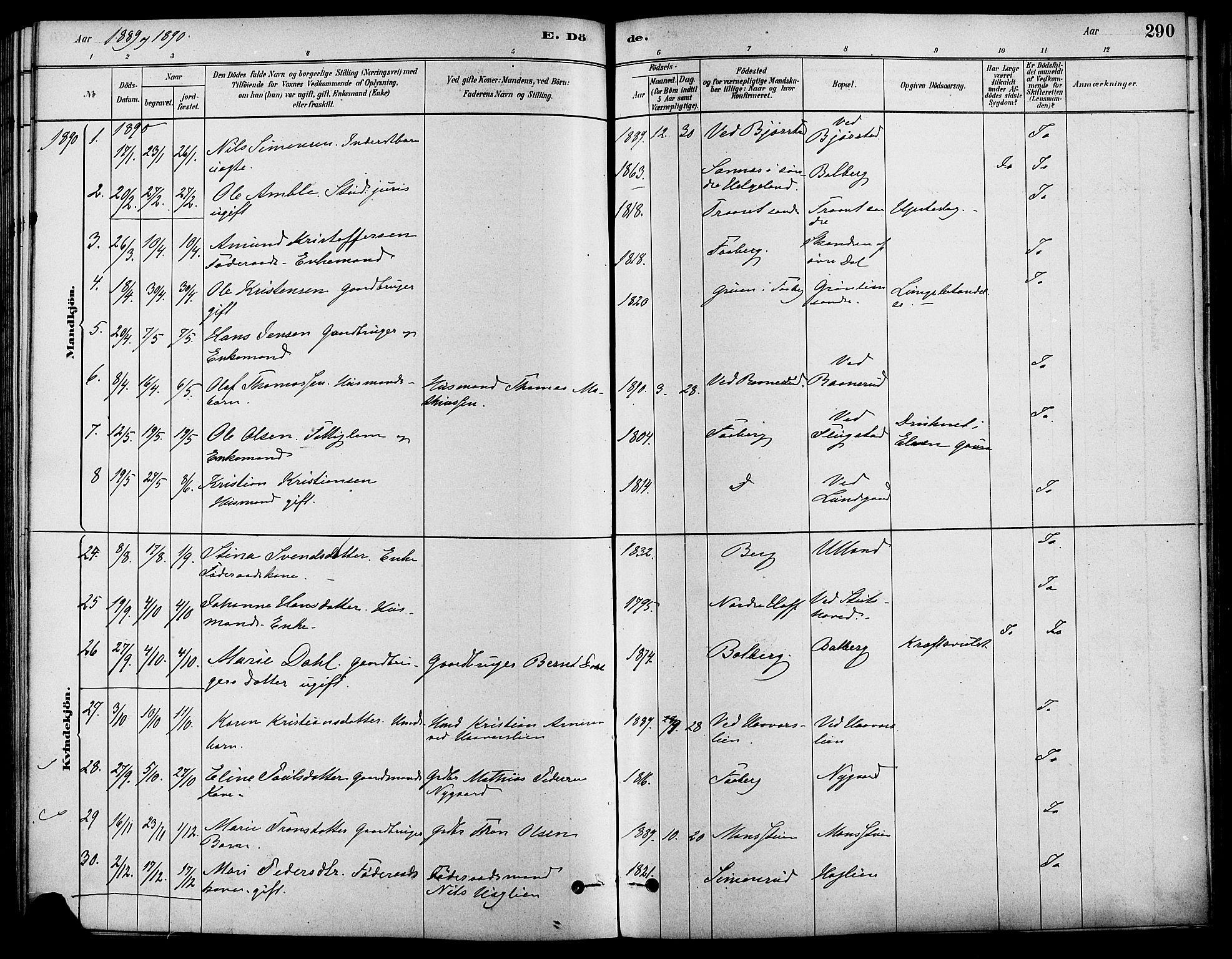 SAH, Fåberg prestekontor, Ministerialbok nr. 8, 1879-1898, s. 290