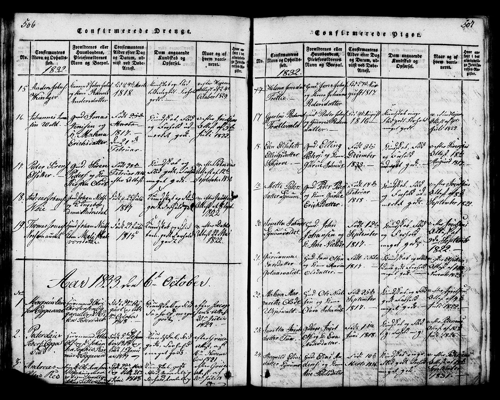 SAT, Ministerialprotokoller, klokkerbøker og fødselsregistre - Nord-Trøndelag, 717/L0169: Klokkerbok nr. 717C01, 1816-1834, s. 506-507