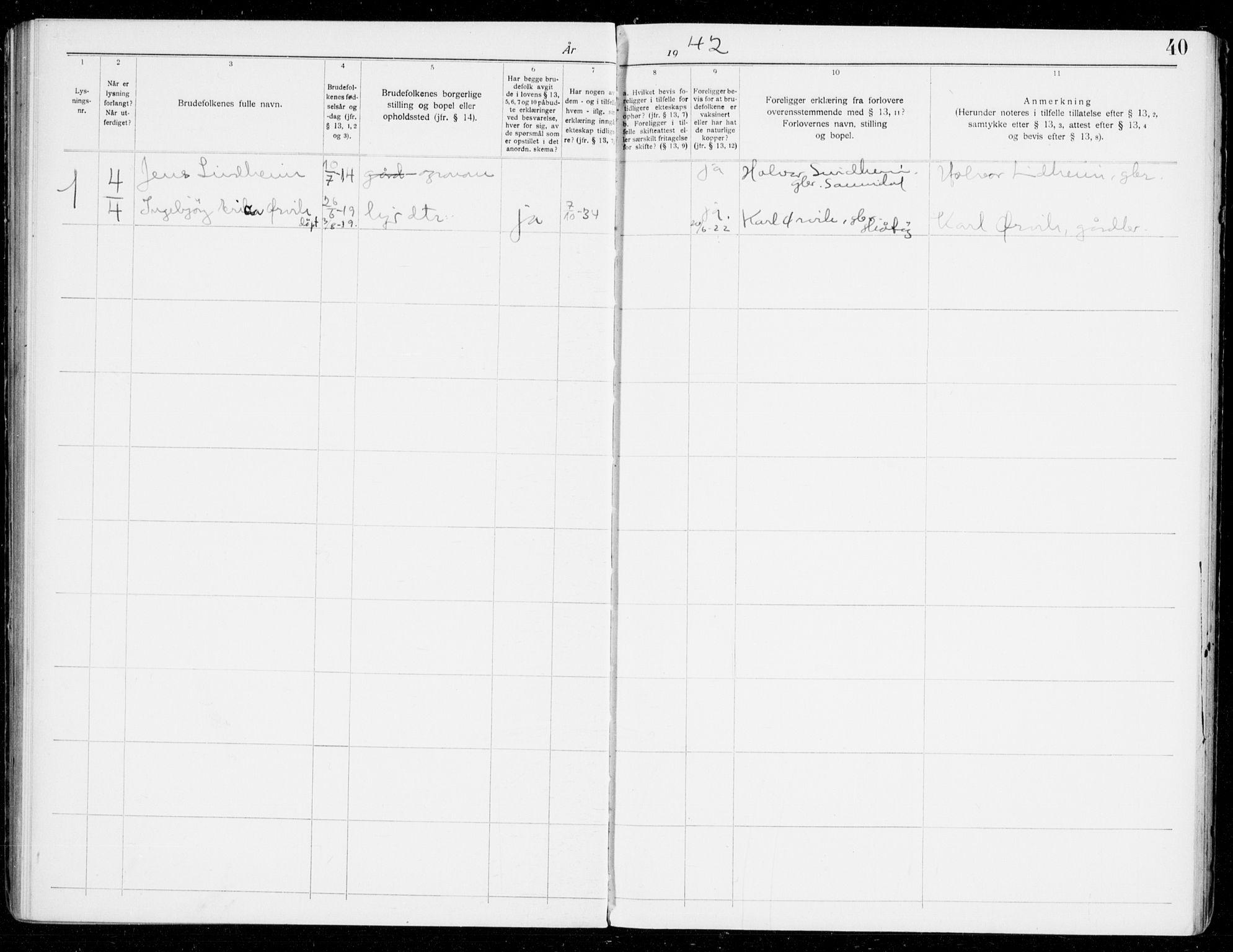 SAKO, Sannidal kirkebøker, H/Ha/L0002: Lysningsprotokoll nr. 2, 1919-1942, s. 40