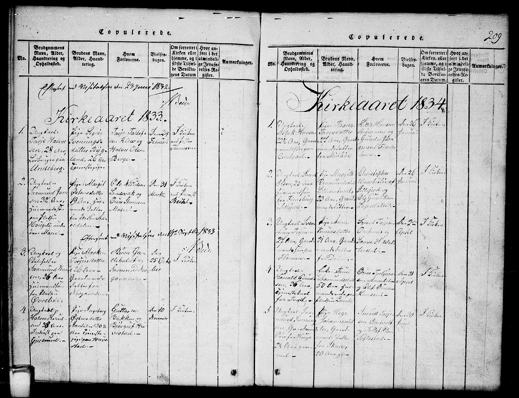 SAKO, Kviteseid kirkebøker, G/Gb/L0001: Klokkerbok nr. II 1, 1815-1842, s. 209