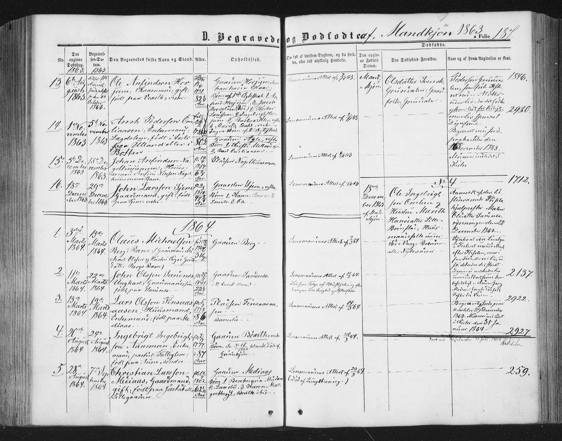 SAT, Ministerialprotokoller, klokkerbøker og fødselsregistre - Nord-Trøndelag, 749/L0472: Ministerialbok nr. 749A06, 1857-1873, s. 187