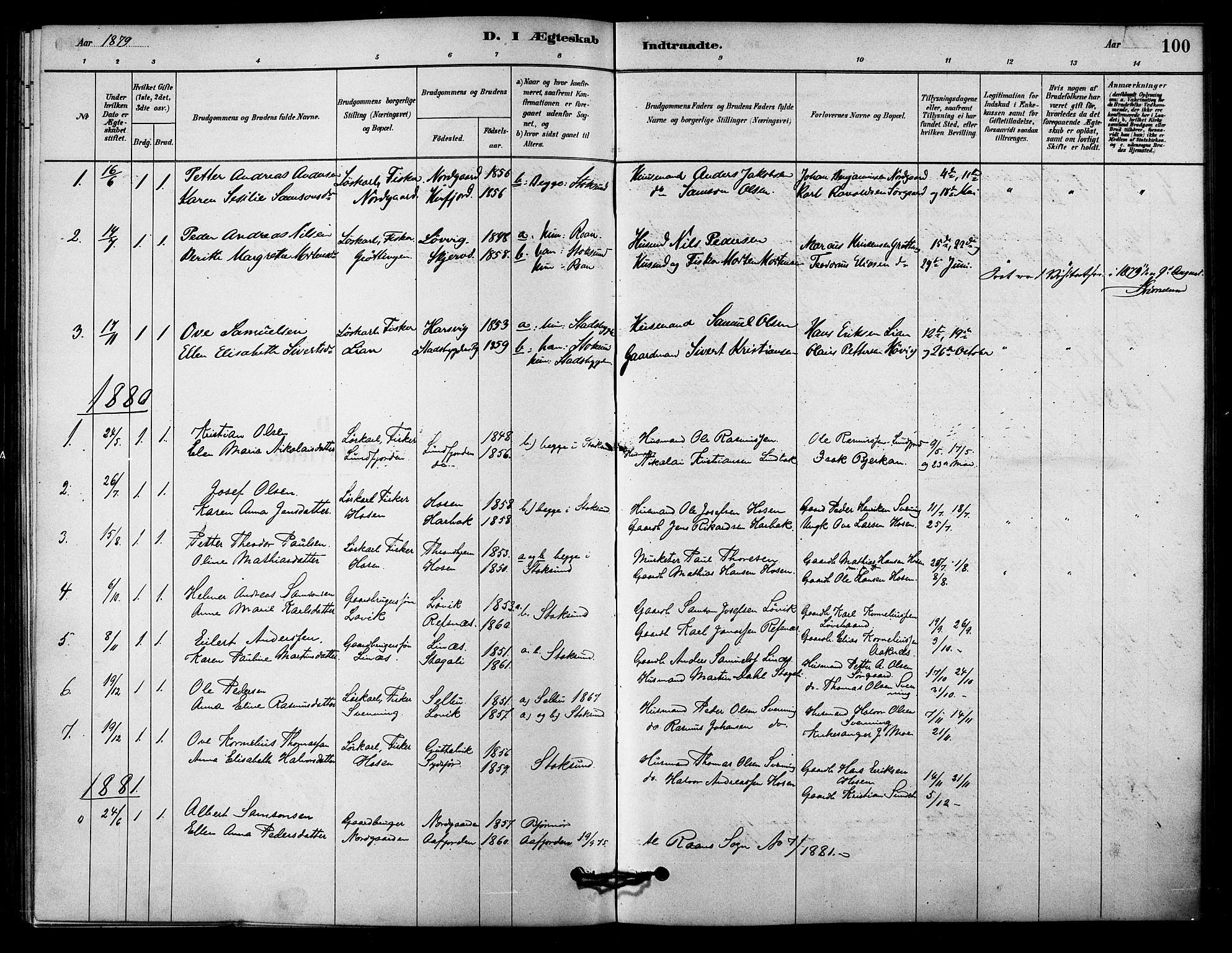 SAT, Ministerialprotokoller, klokkerbøker og fødselsregistre - Sør-Trøndelag, 656/L0692: Ministerialbok nr. 656A01, 1879-1893, s. 100