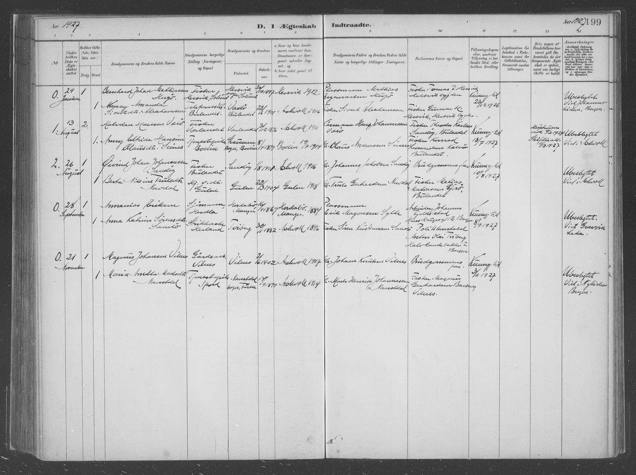 SAB, Askvoll Sokneprestembete, Ministerialbok nr. C  1, 1879-1922, s. 199