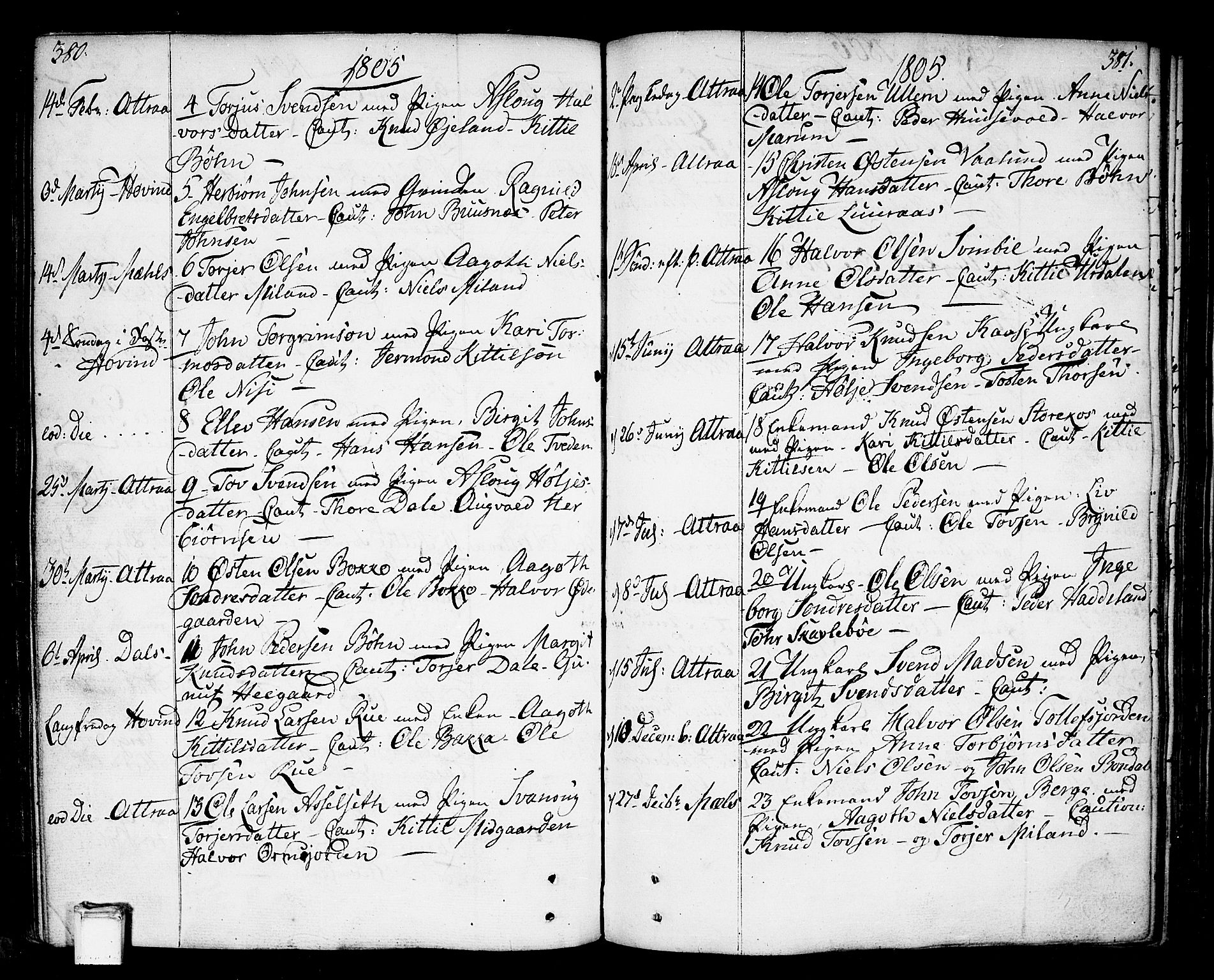 SAKO, Tinn kirkebøker, F/Fa/L0002: Ministerialbok nr. I 2, 1757-1810, s. 380-381