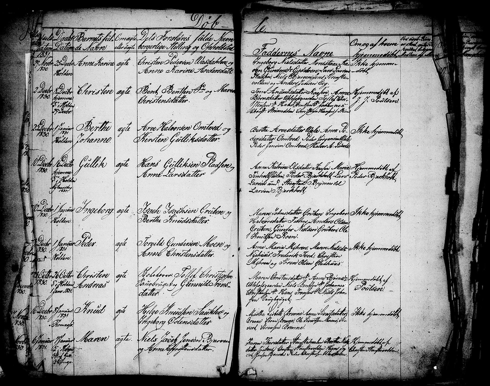 SAKO, Holla kirkebøker, F/Fa/L0004: Ministerialbok nr. 4, 1830-1848
