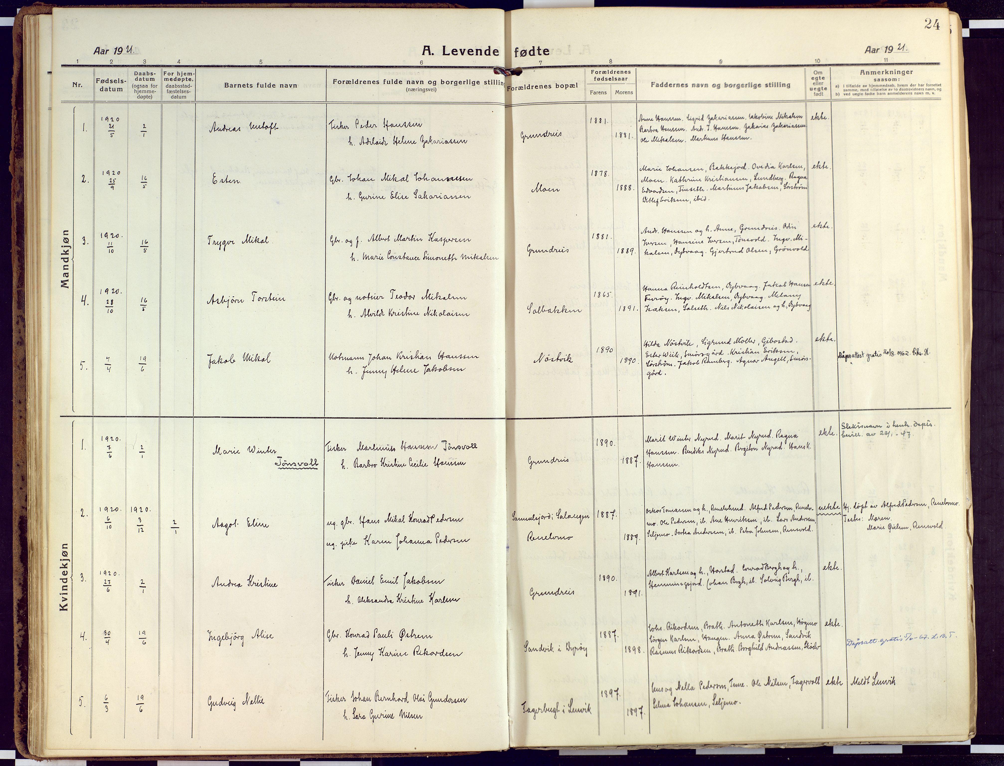 SATØ, Tranøy sokneprestkontor, I/Ia/Iaa/L0015kirke: Ministerialbok nr. 15, 1919-1928, s. 24