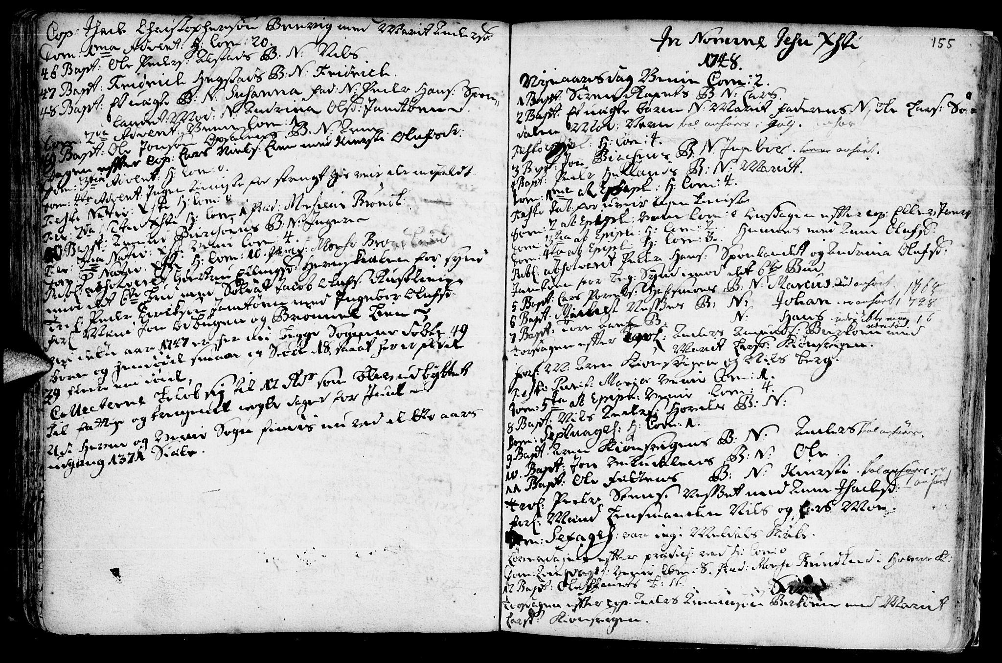 SAT, Ministerialprotokoller, klokkerbøker og fødselsregistre - Sør-Trøndelag, 630/L0488: Ministerialbok nr. 630A01, 1717-1756, s. 154-155