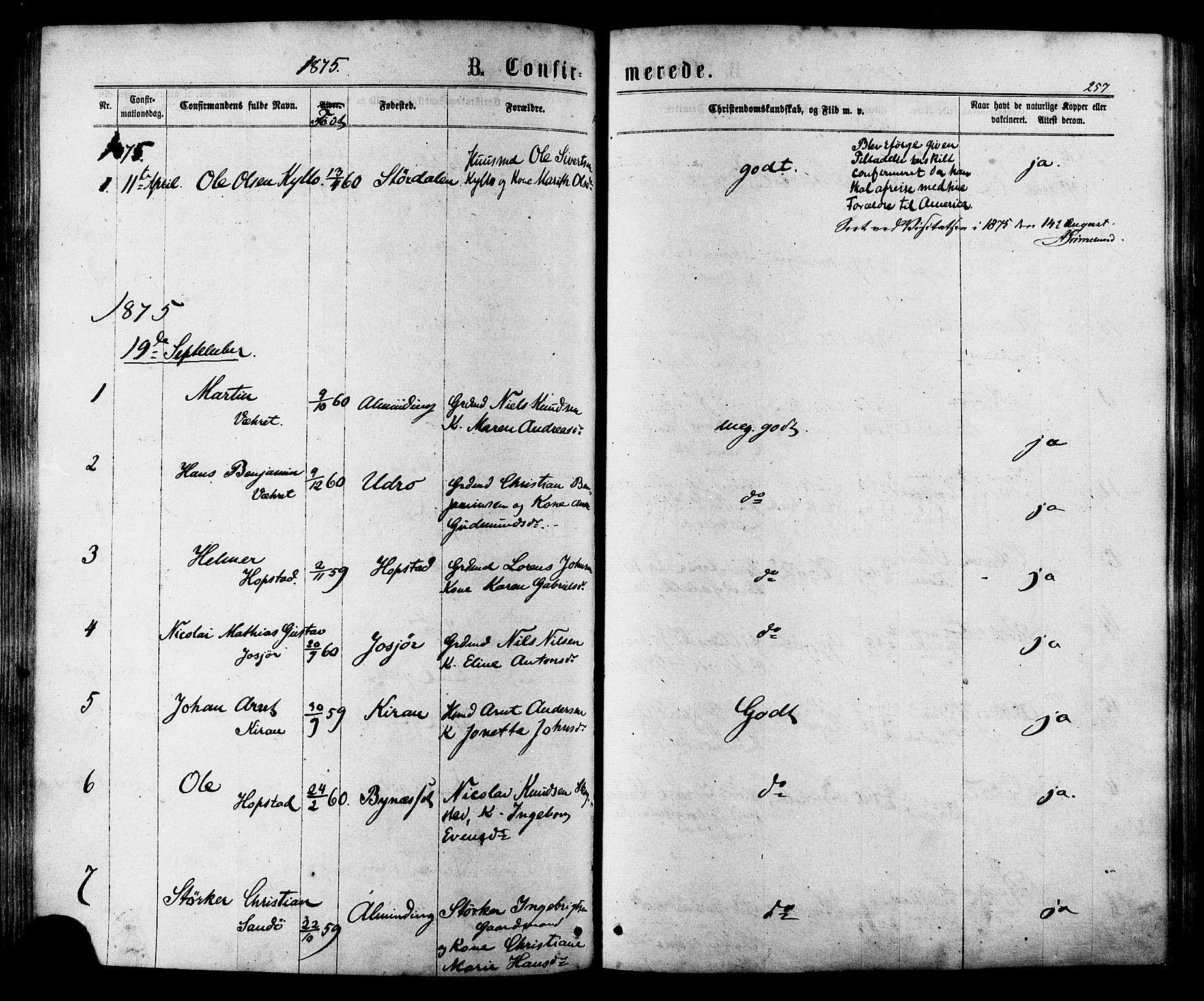 SAT, Ministerialprotokoller, klokkerbøker og fødselsregistre - Sør-Trøndelag, 657/L0706: Ministerialbok nr. 657A07, 1867-1878, s. 257