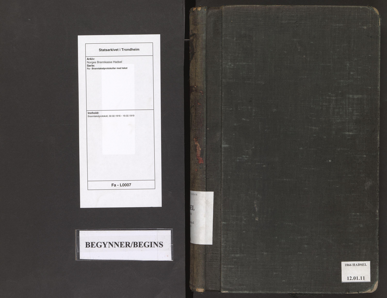 SAT, Norges Brannkasse Hadsel, Fa/L0007: Branntakstprotokoll, 1916-1919