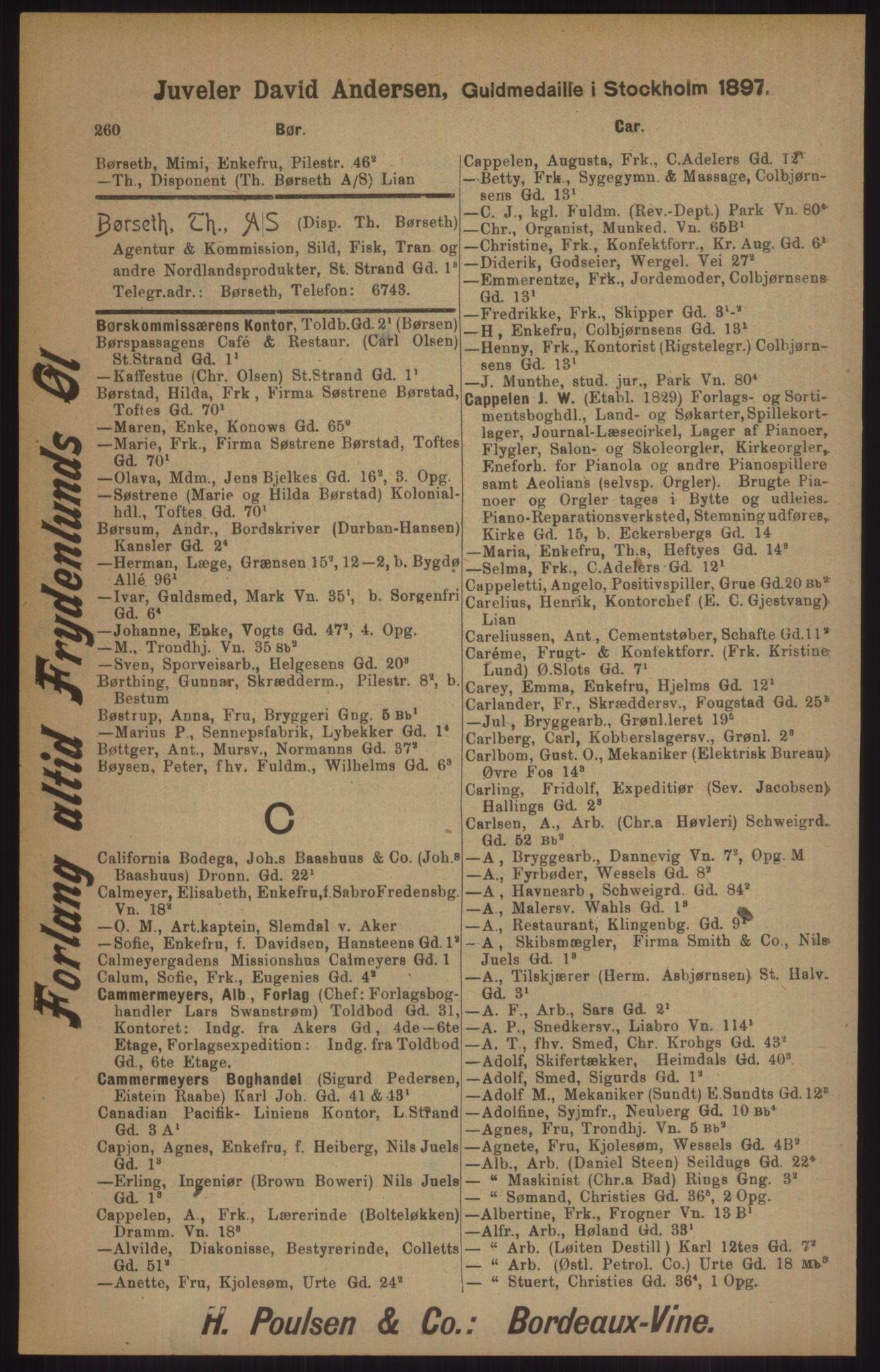 RA, Kristiania adressebok (publikasjon)*, 1905, s. 260