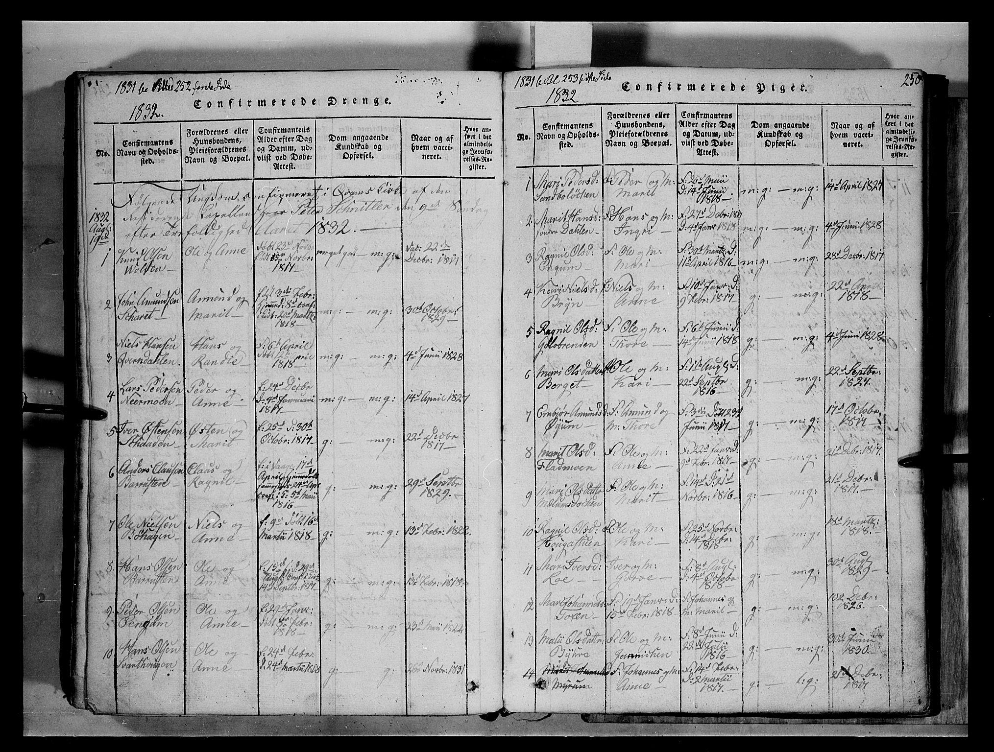 SAH, Fron prestekontor, H/Ha/Hab/L0004: Klokkerbok nr. 4, 1816-1850, s. 250