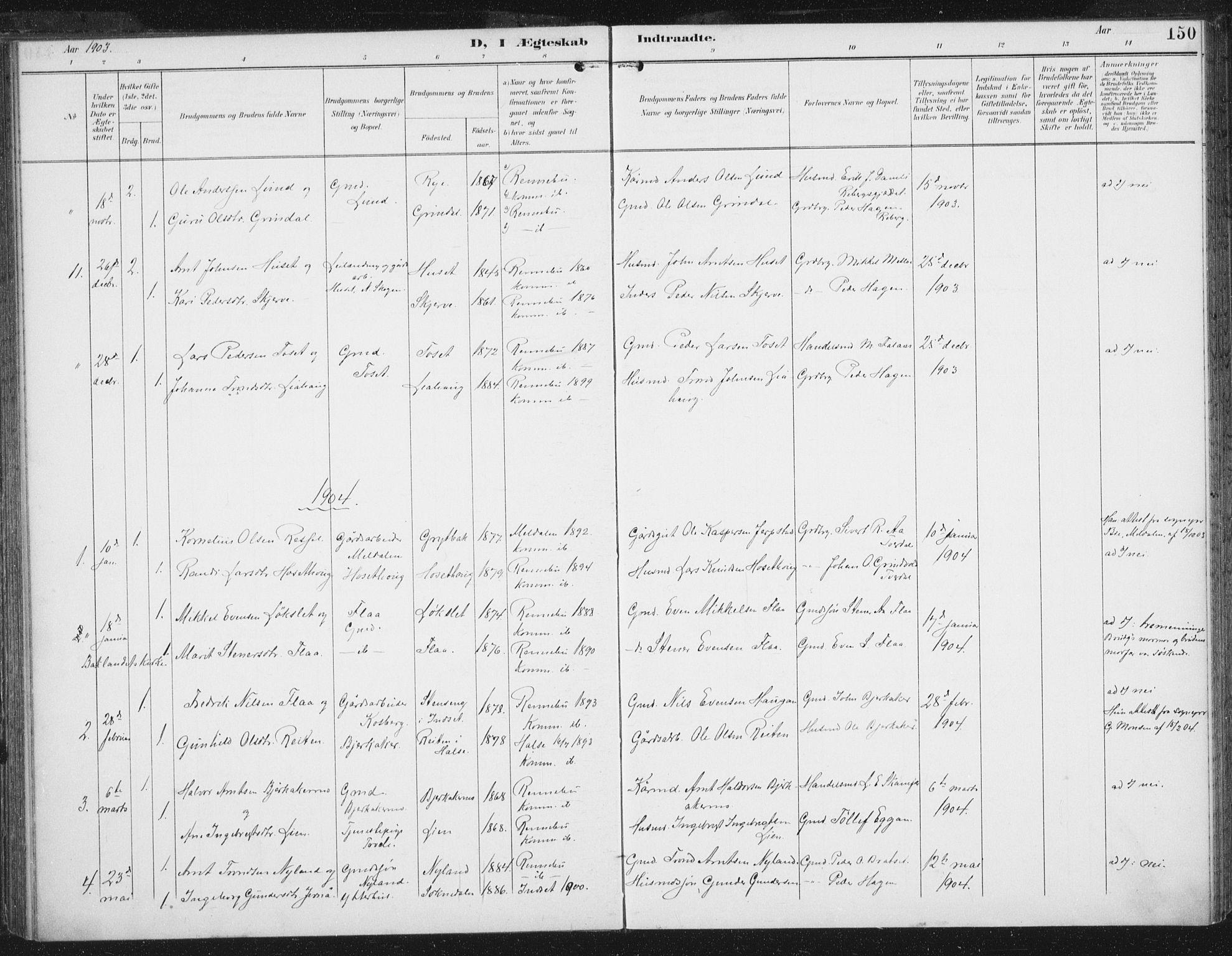 SAT, Ministerialprotokoller, klokkerbøker og fødselsregistre - Sør-Trøndelag, 674/L0872: Ministerialbok nr. 674A04, 1897-1907, s. 150