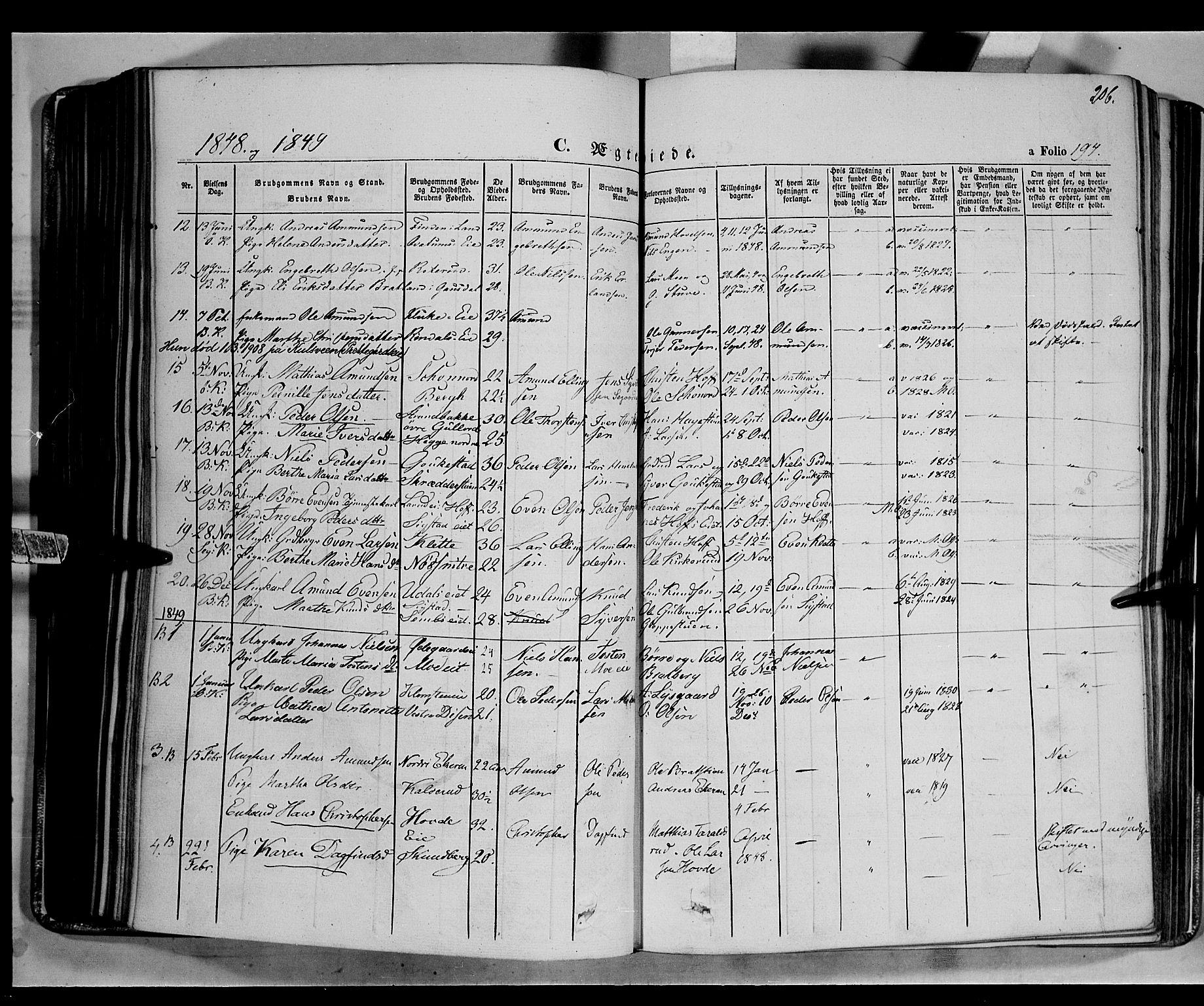 SAH, Biri prestekontor, Ministerialbok nr. 5, 1843-1854, s. 206