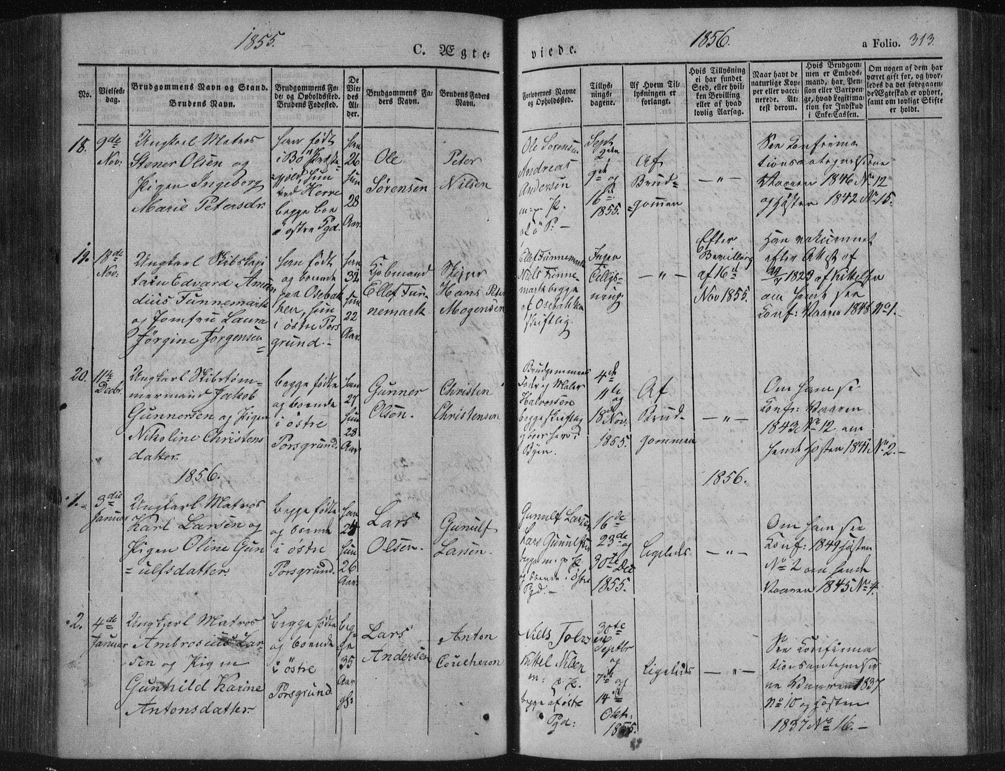 SAKO, Porsgrunn kirkebøker , F/Fa/L0006: Ministerialbok nr. 6, 1841-1857, s. 313