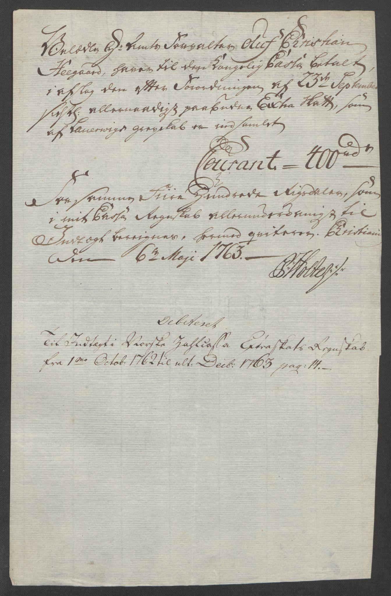 RA, Rentekammeret inntil 1814, Reviderte regnskaper, Fogderegnskap, R33/L2033: Ekstraskatten Larvik grevskap, 1762-1764, s. 139