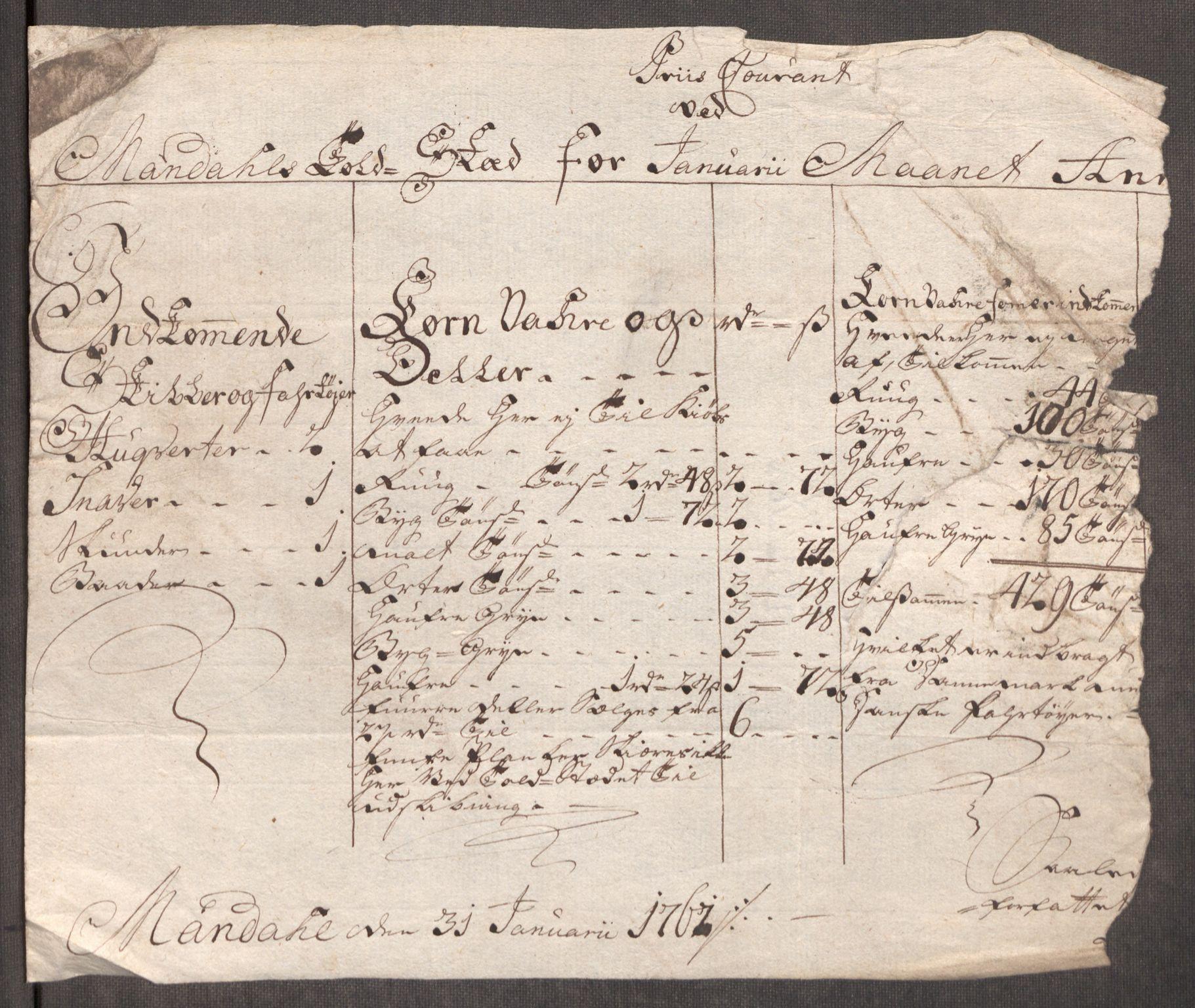 RA, Rentekammeret inntil 1814, Realistisk ordnet avdeling, Oe/L0007: [Ø1]: Priskuranter, 1761-1763, s. 496
