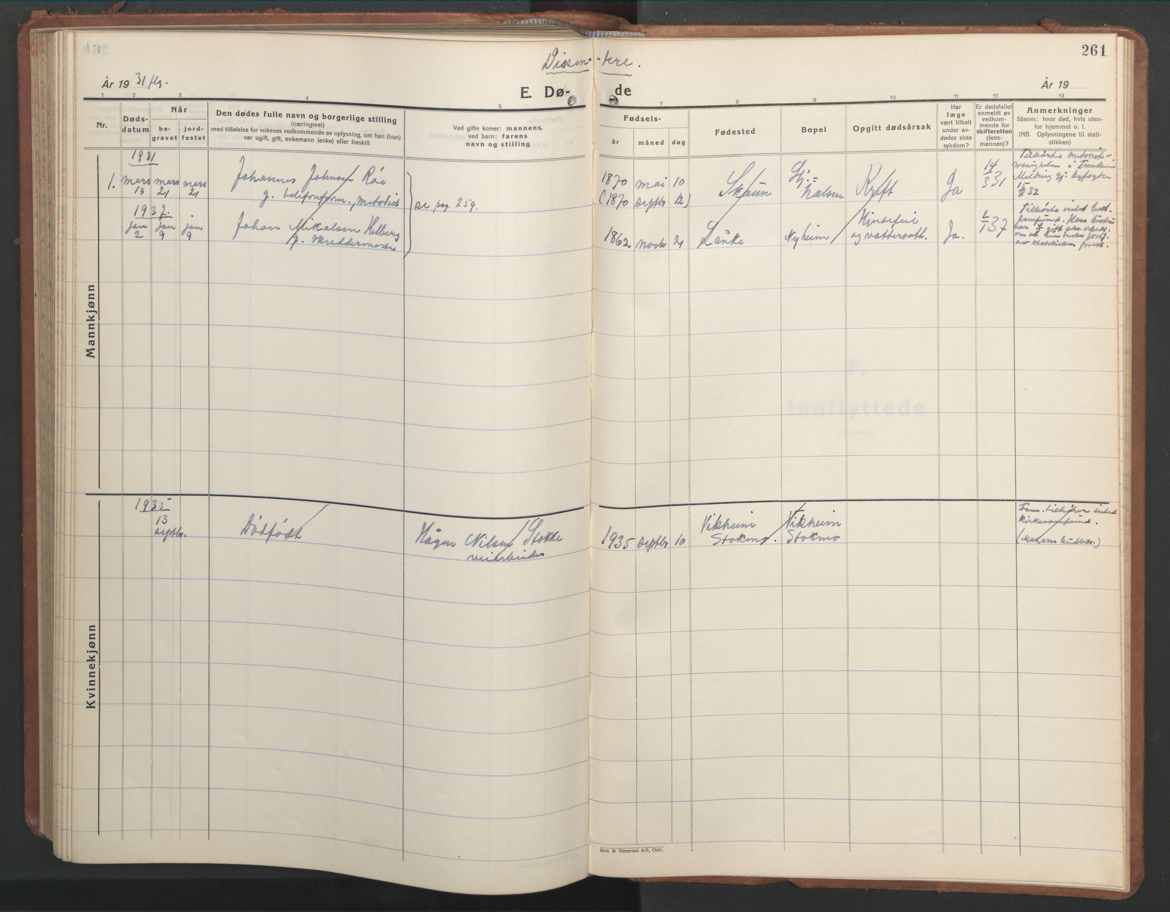 SAT, Ministerialprotokoller, klokkerbøker og fødselsregistre - Nord-Trøndelag, 709/L0089: Klokkerbok nr. 709C03, 1935-1948, s. 261