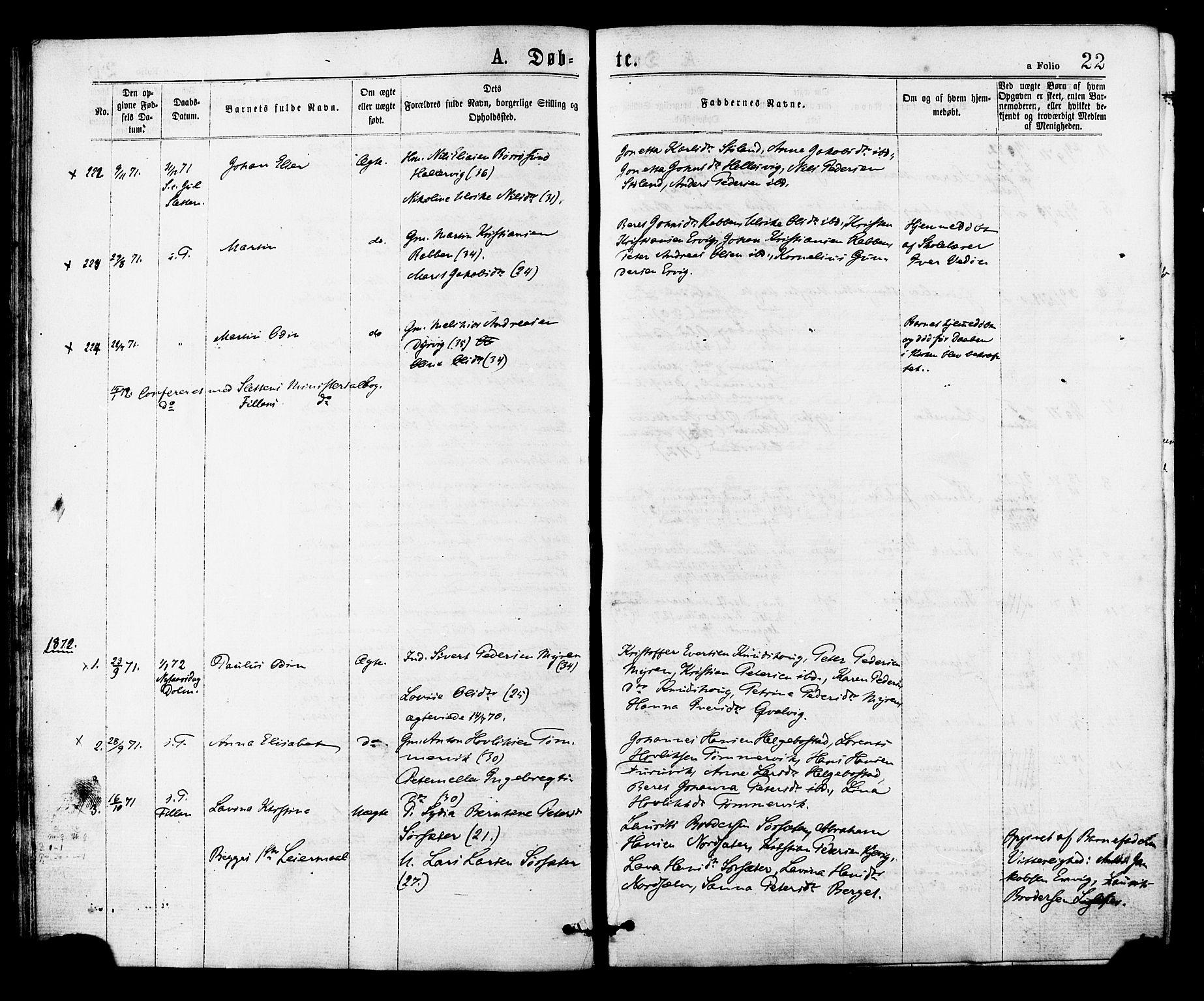 SAT, Ministerialprotokoller, klokkerbøker og fødselsregistre - Sør-Trøndelag, 634/L0532: Ministerialbok nr. 634A08, 1871-1881, s. 22