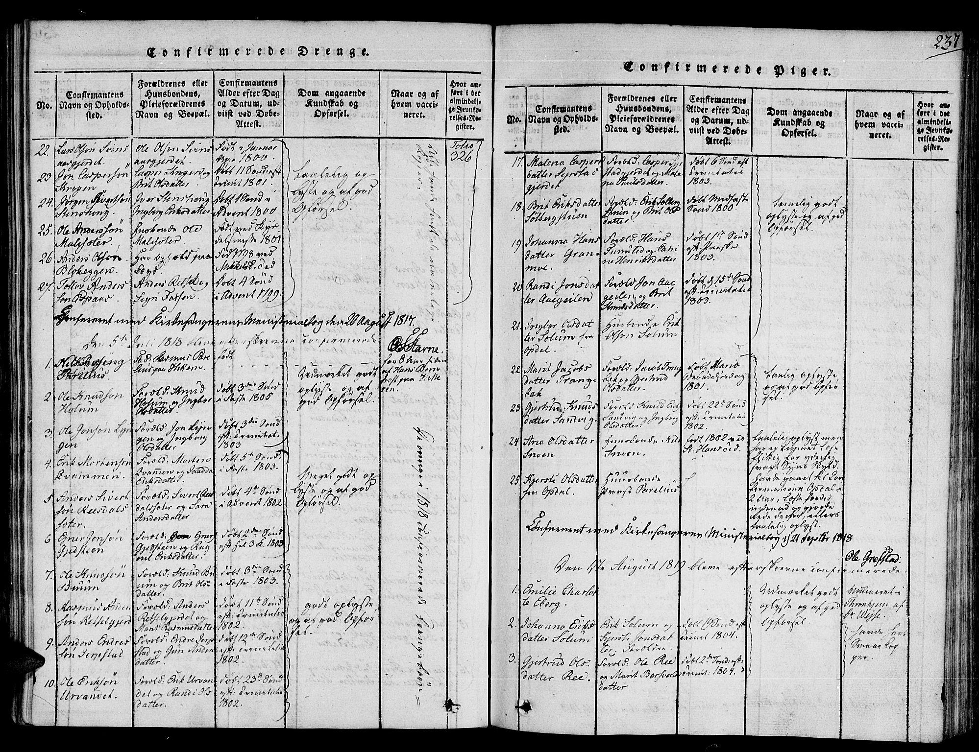 SAT, Ministerialprotokoller, klokkerbøker og fødselsregistre - Sør-Trøndelag, 672/L0853: Ministerialbok nr. 672A06 /1, 1816-1829, s. 237