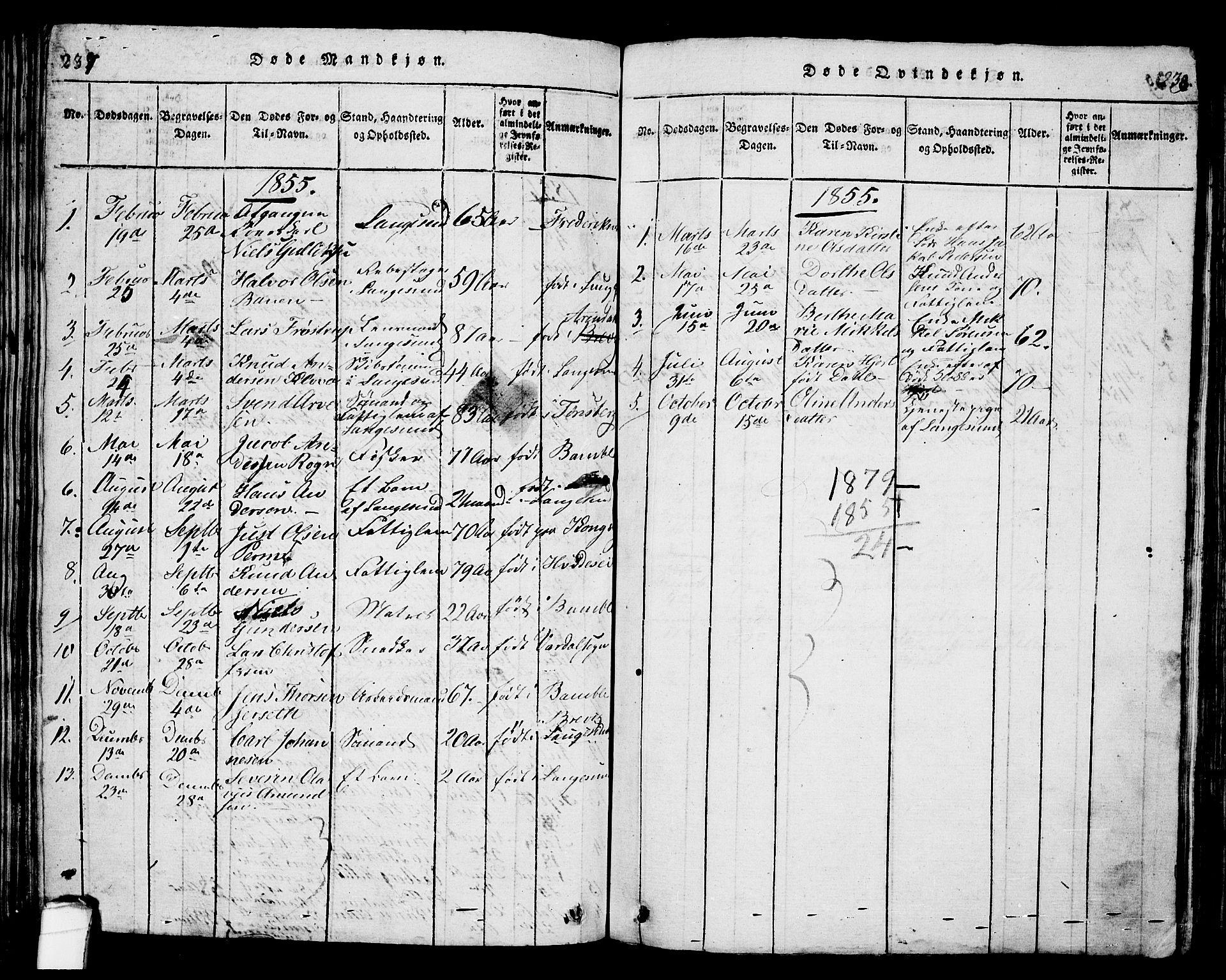 SAKO, Langesund kirkebøker, G/Ga/L0003: Klokkerbok nr. 3, 1815-1858, s. 237-238
