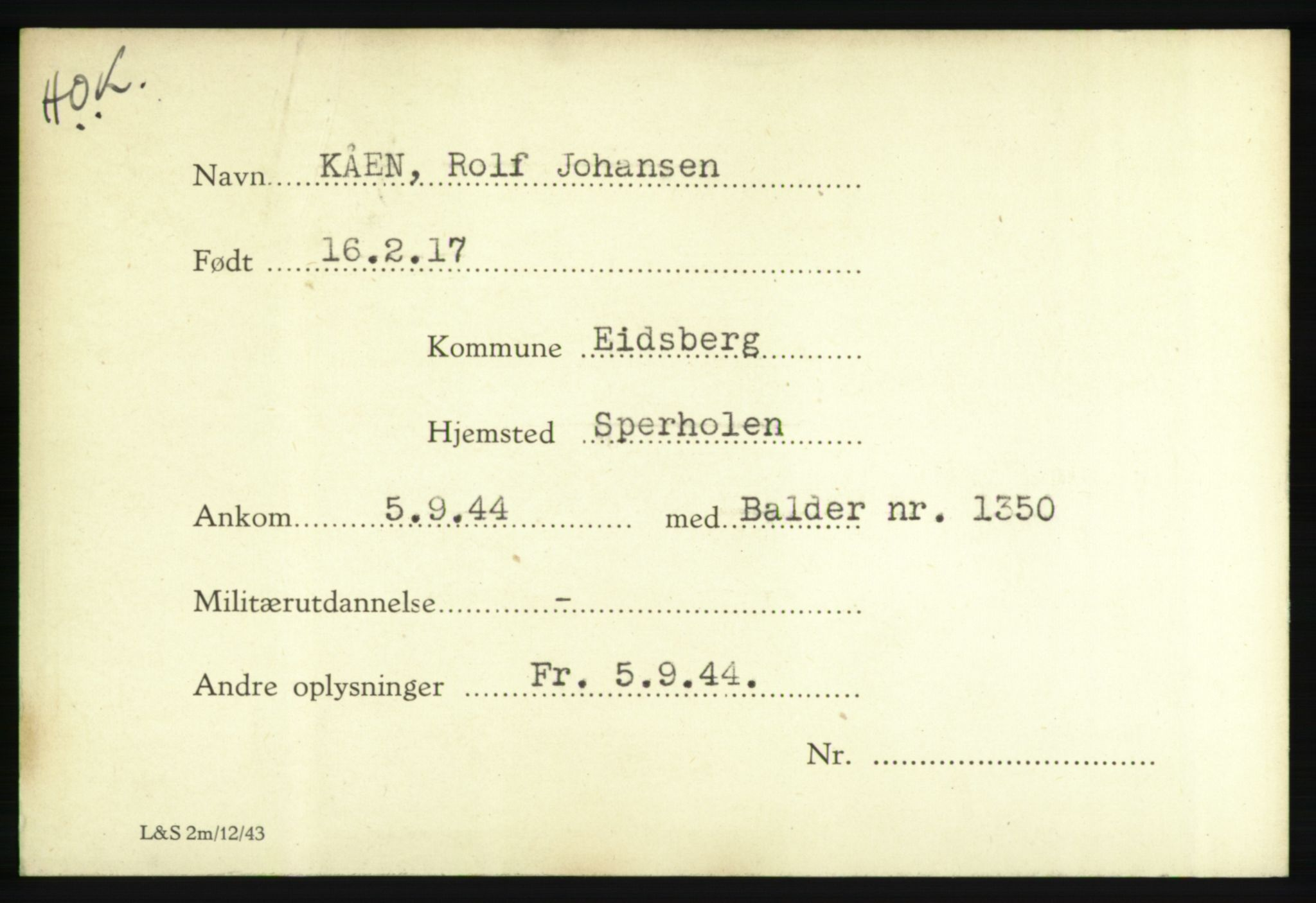 NHM, Forsvarets Overkommando. 2. kontor. Arkiv 8.1. Mottakersentralen FDE og FO.II, P/Pa/L0011: Kortsamling, 1940-1945, s. 1