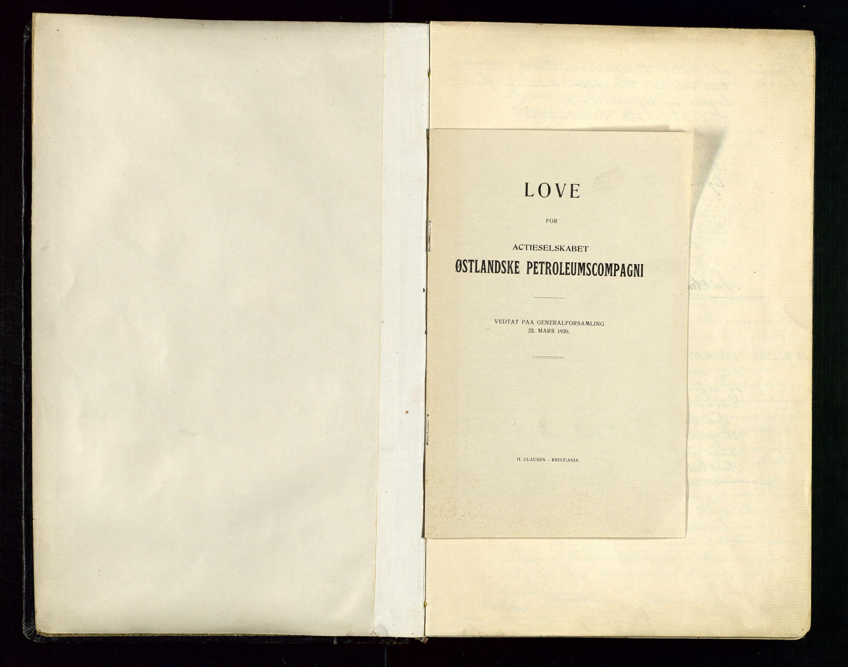 SAST, PA 1534 - Østlandske Petroleumscompagni A/S, A/Aa/L0003: Direksjonsprotokoller, 1916-1922, s. upaginert
