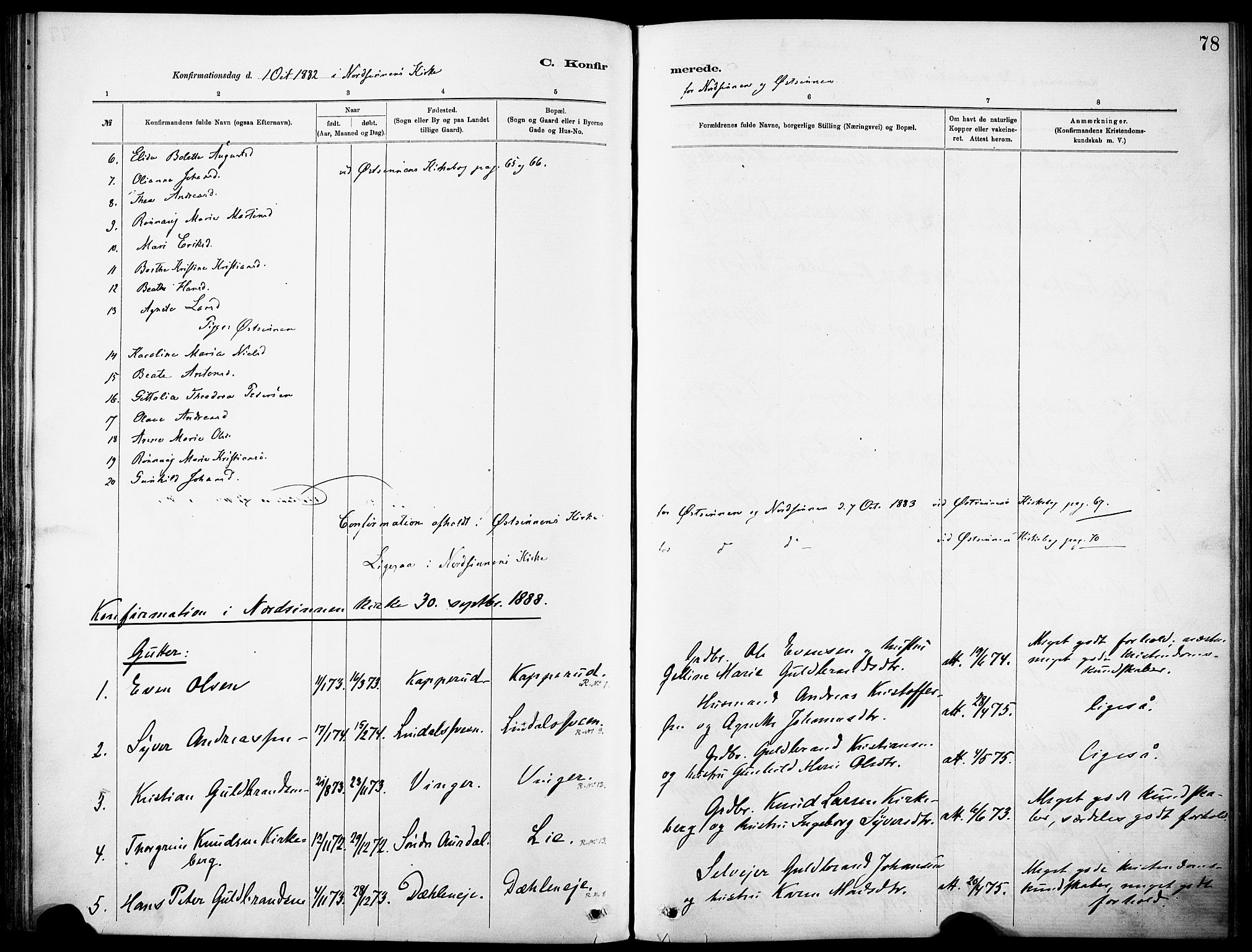 SAH, Nordre Land prestekontor, Ministerialbok nr. 5, 1882-1903, s. 78