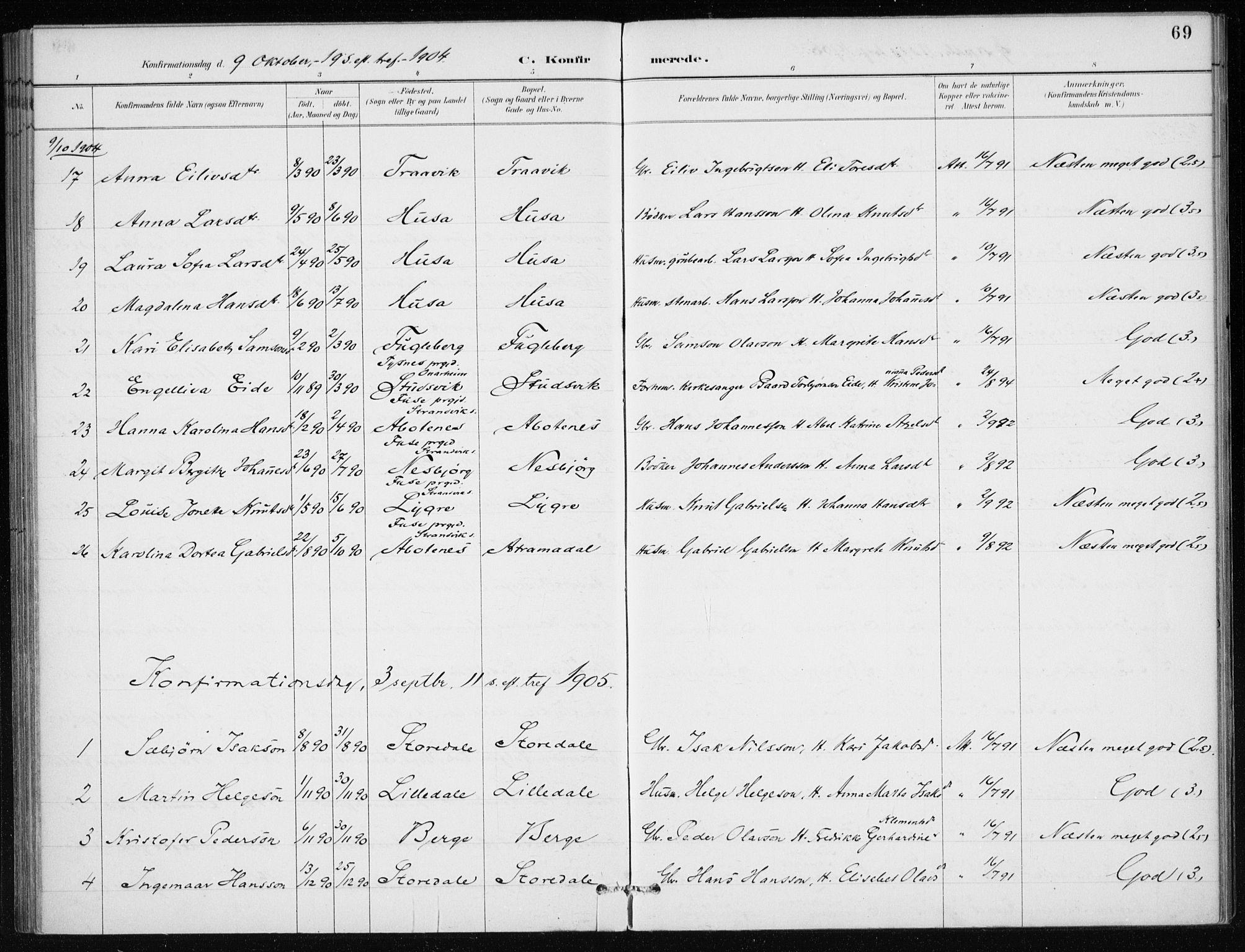 SAB, Kvinnherad Sokneprestembete, H/Haa: Ministerialbok nr. E 1, 1887-1912, s. 69