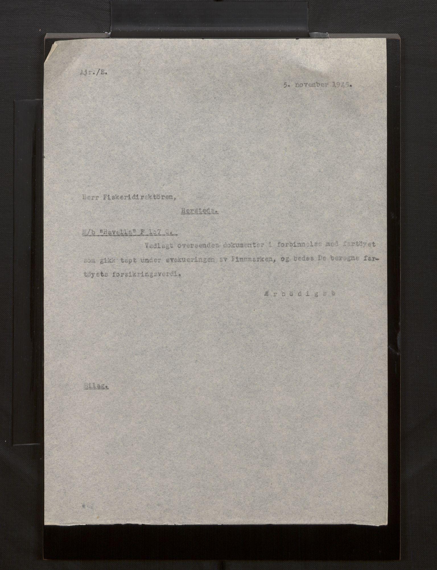 SAB, Fiskeridirektoratet - 1 Adm. ledelse - 13 Båtkontoret, La/L0042: Statens krigsforsikring for fiskeflåten, 1936-1971, s. 438