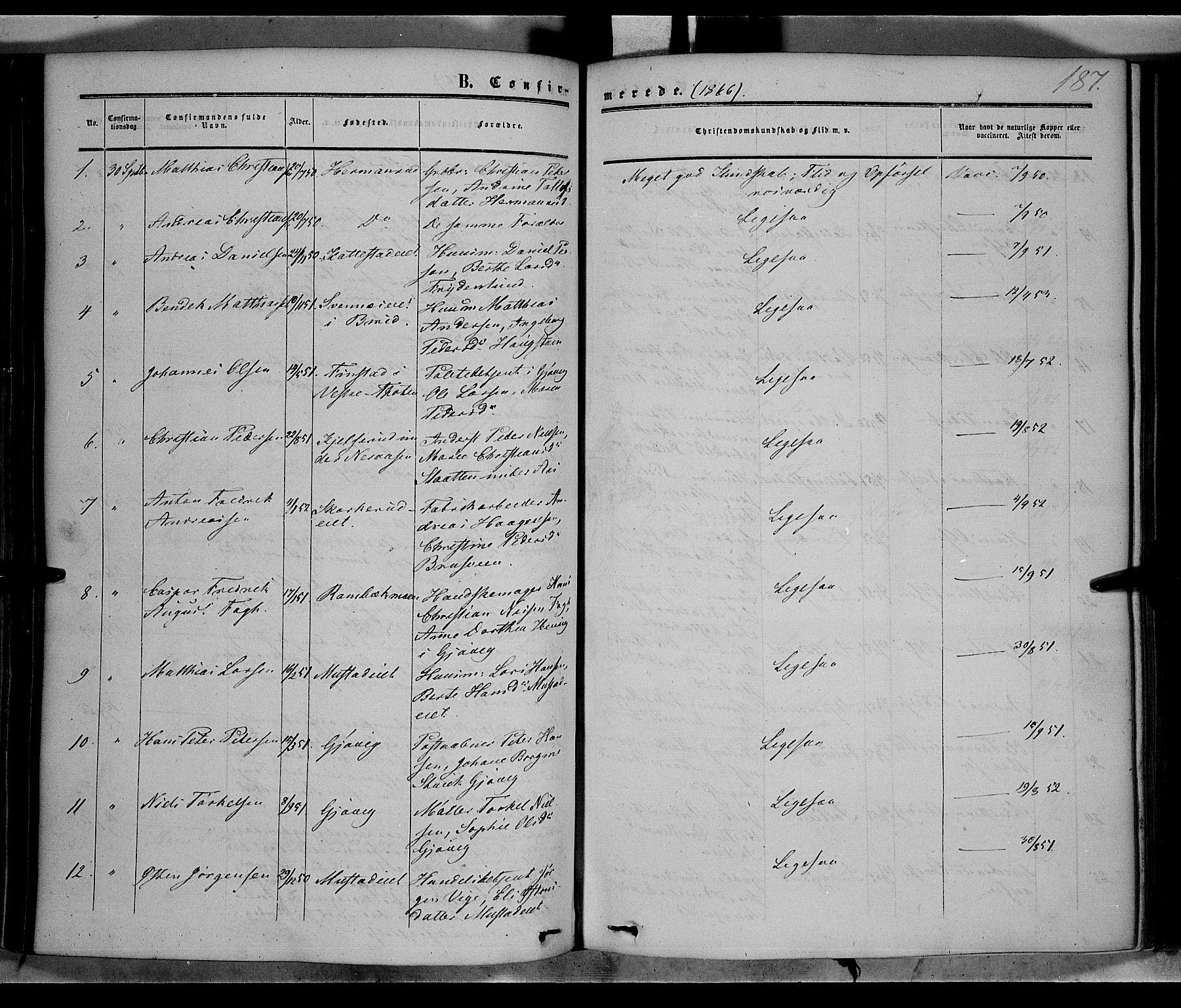 SAH, Vardal prestekontor, H/Ha/Haa/L0006: Ministerialbok nr. 6, 1854-1866, s. 187