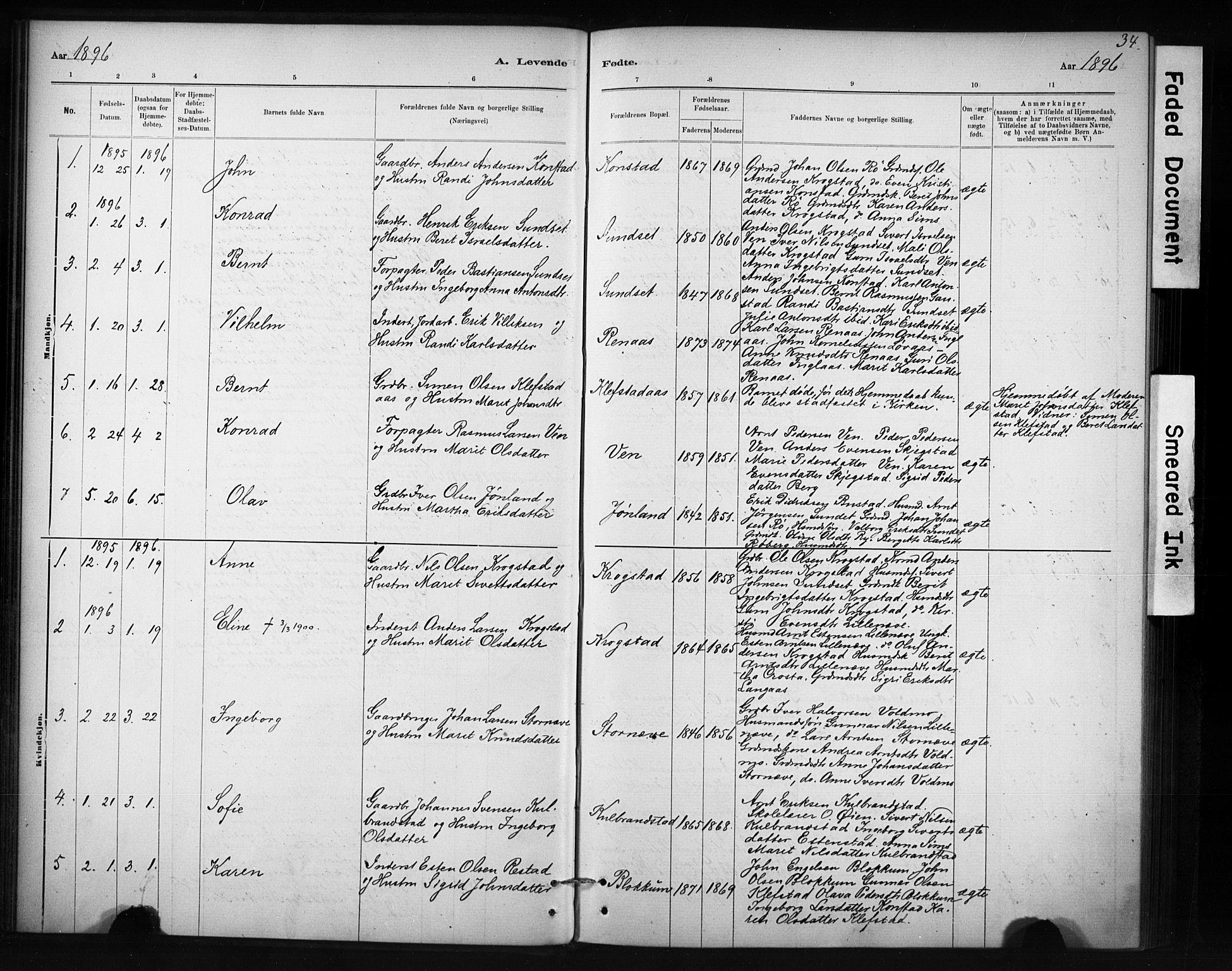 SAT, Ministerialprotokoller, klokkerbøker og fødselsregistre - Sør-Trøndelag, 694/L1127: Ministerialbok nr. 694A01, 1887-1905, s. 34