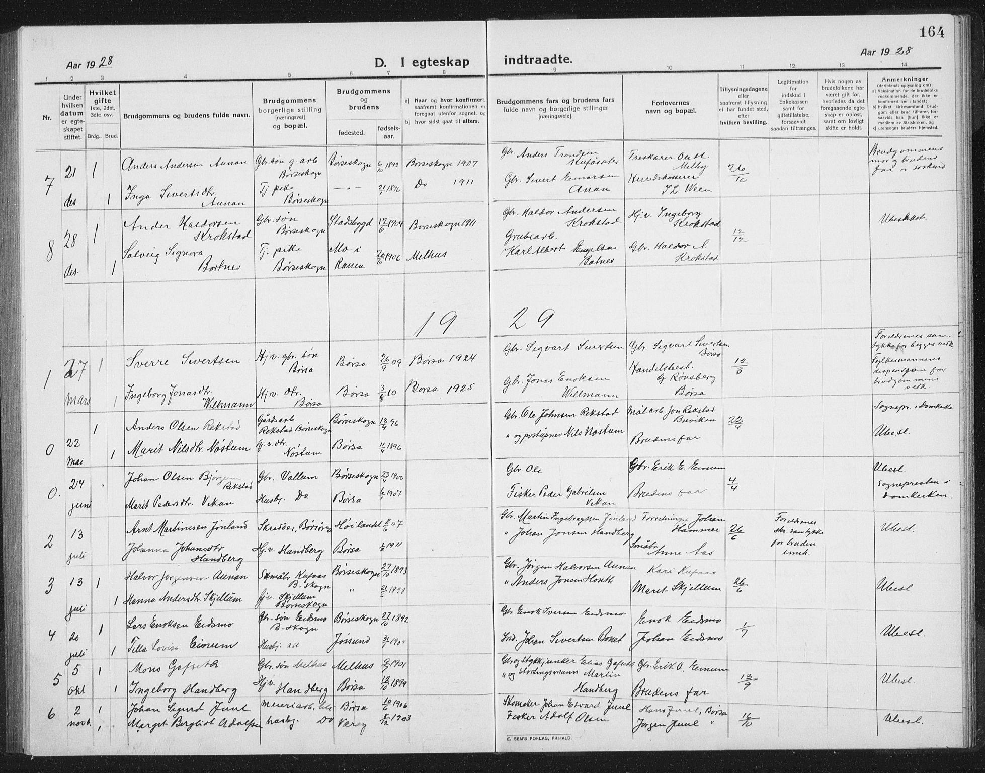 SAT, Ministerialprotokoller, klokkerbøker og fødselsregistre - Sør-Trøndelag, 665/L0778: Klokkerbok nr. 665C03, 1916-1938, s. 164