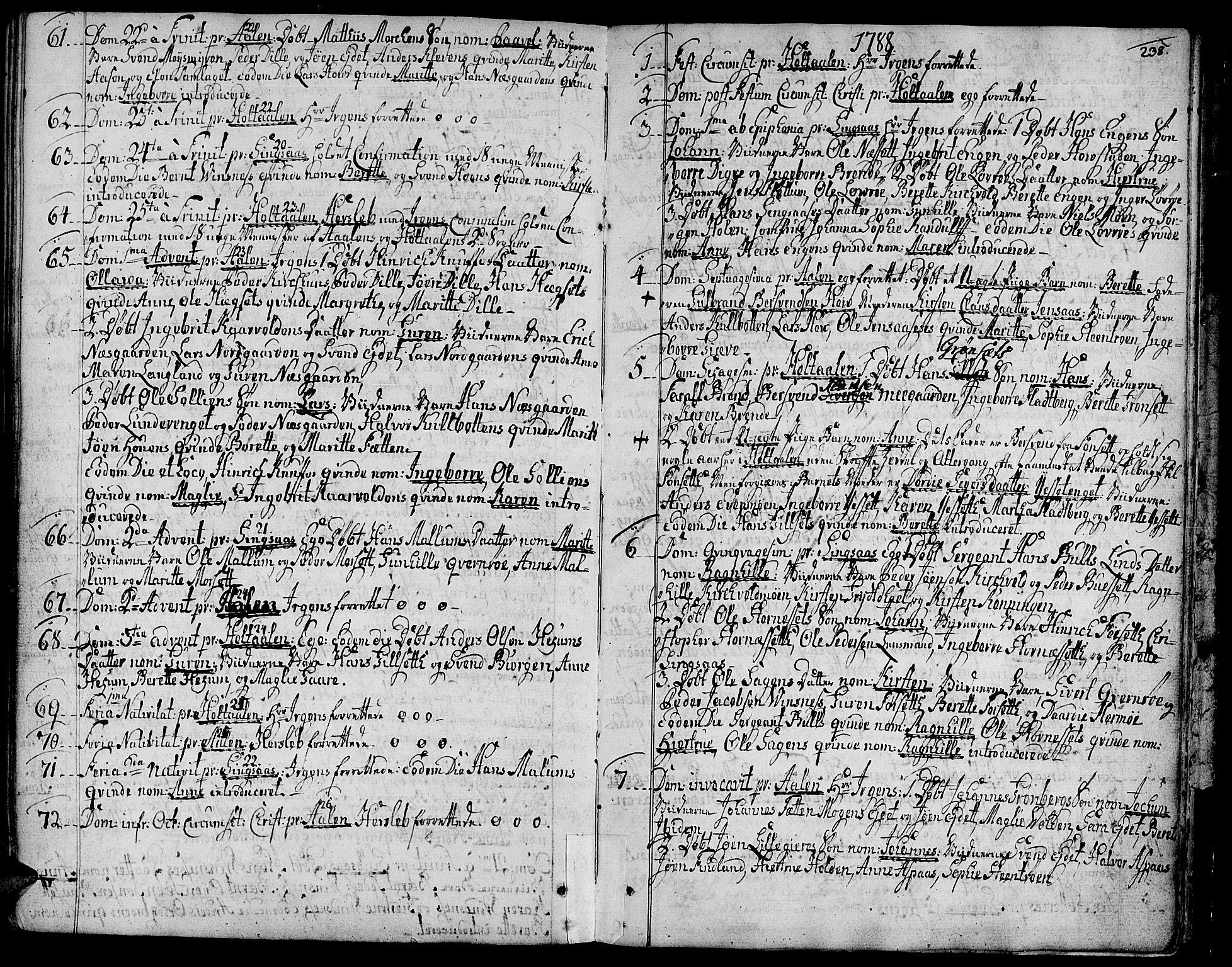 SAT, Ministerialprotokoller, klokkerbøker og fødselsregistre - Sør-Trøndelag, 685/L0952: Ministerialbok nr. 685A01, 1745-1804, s. 238