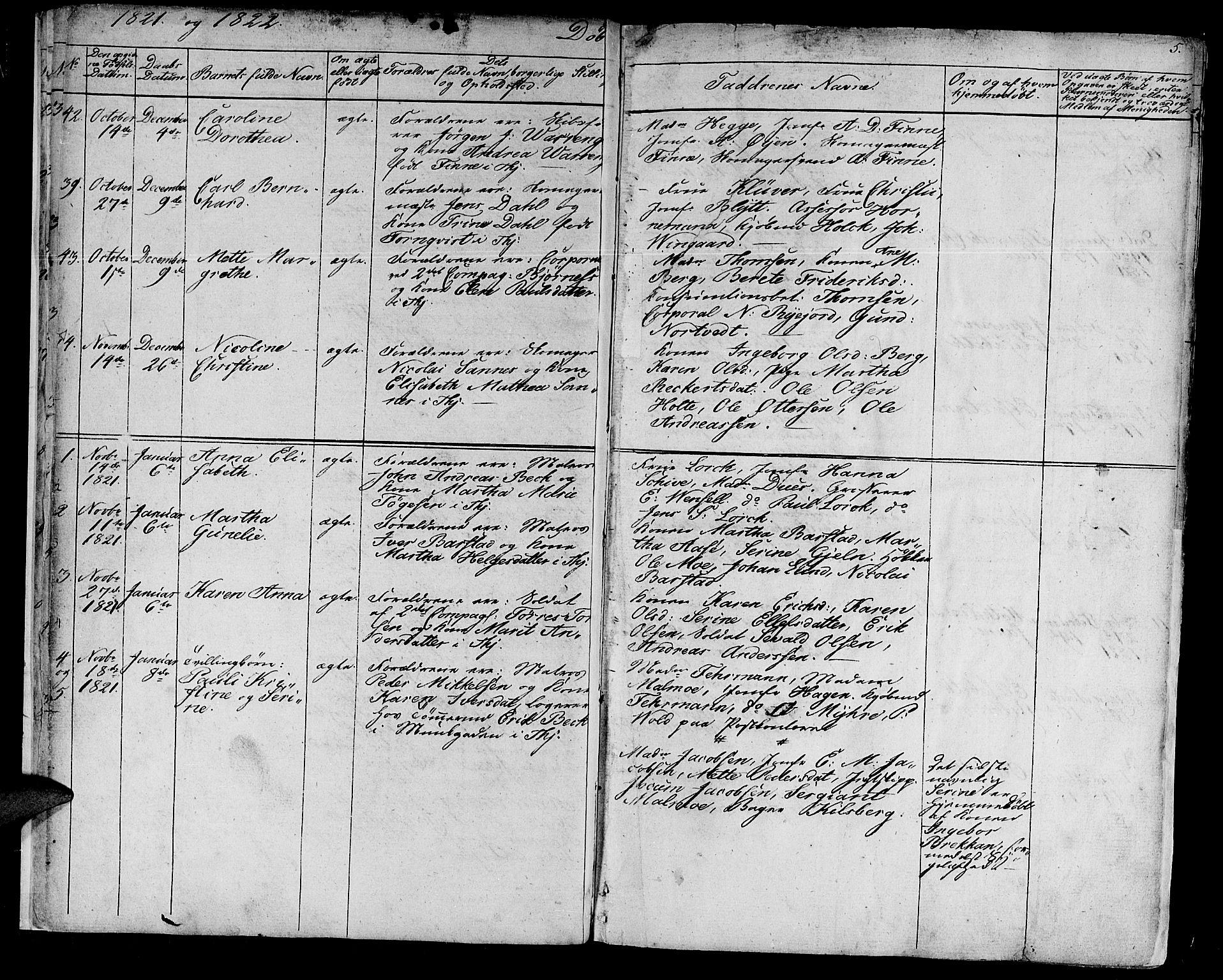 SAT, Ministerialprotokoller, klokkerbøker og fødselsregistre - Sør-Trøndelag, 602/L0108: Ministerialbok nr. 602A06, 1821-1839, s. 5