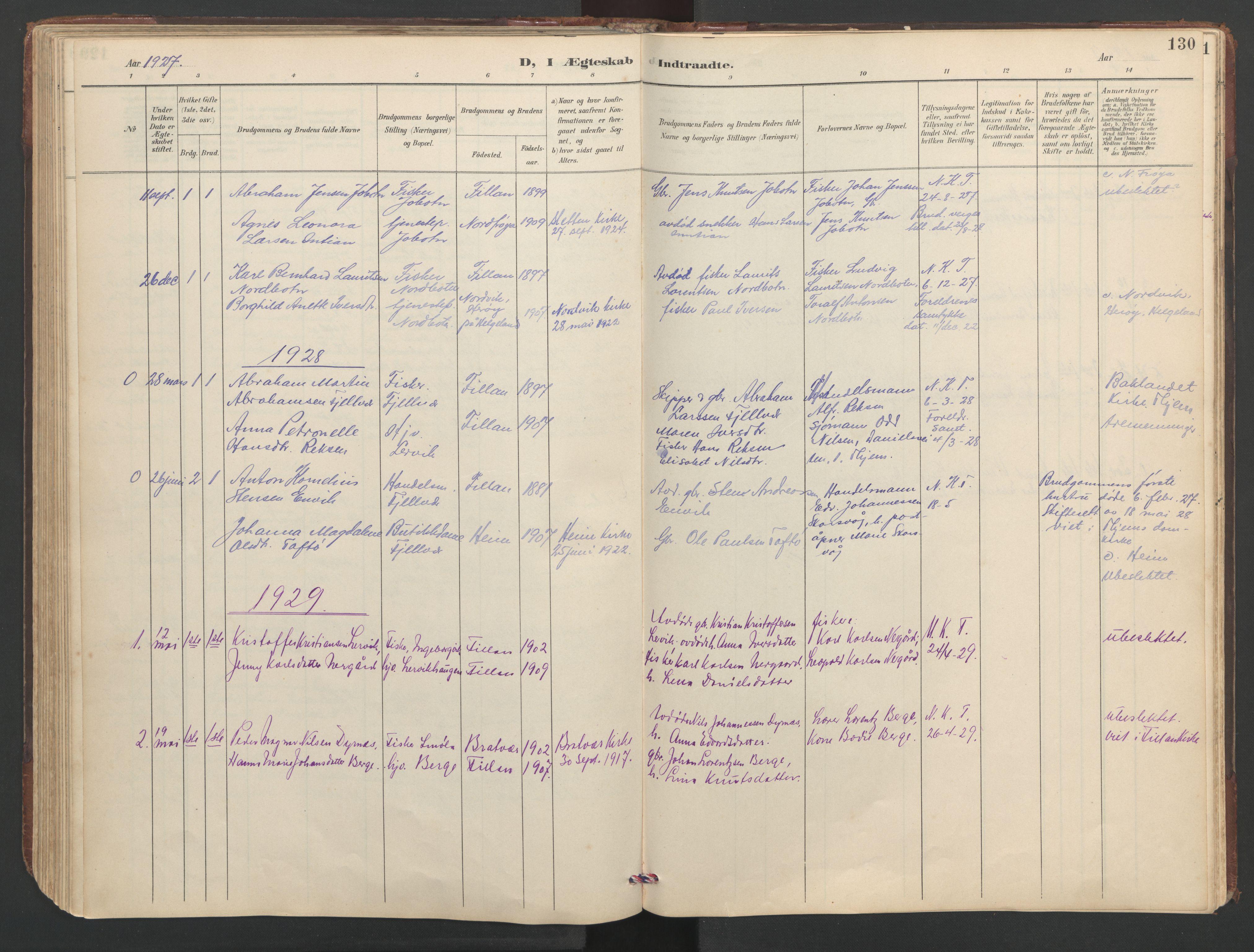SAT, Ministerialprotokoller, klokkerbøker og fødselsregistre - Sør-Trøndelag, 638/L0571: Klokkerbok nr. 638C03, 1901-1930, s. 130