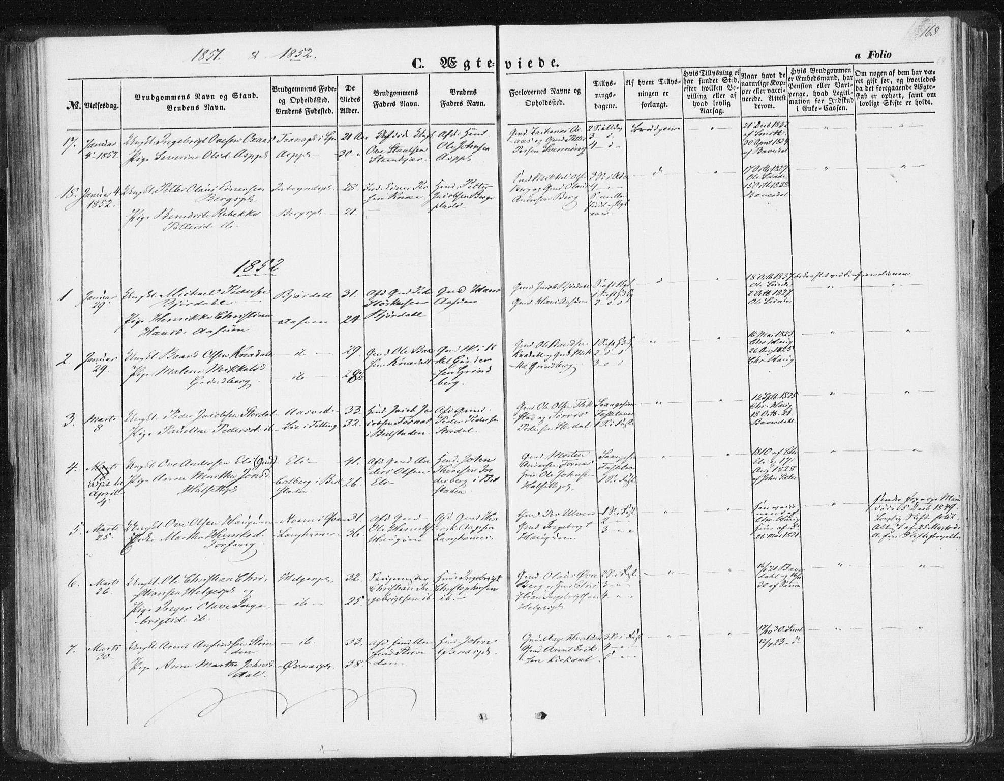 SAT, Ministerialprotokoller, klokkerbøker og fødselsregistre - Nord-Trøndelag, 746/L0446: Ministerialbok nr. 746A05, 1846-1859, s. 168