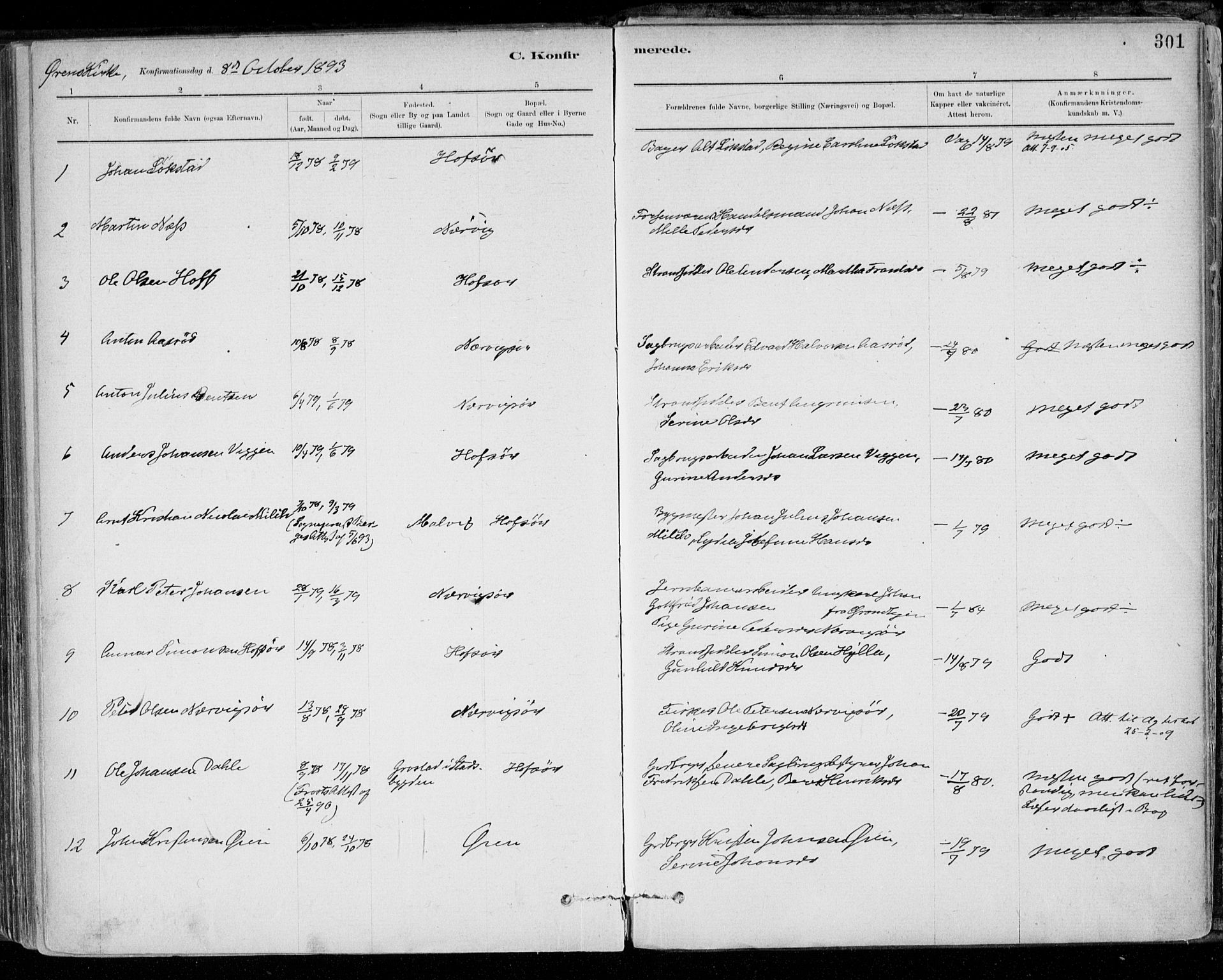 SAT, Ministerialprotokoller, klokkerbøker og fødselsregistre - Sør-Trøndelag, 668/L0809: Ministerialbok nr. 668A09, 1881-1895, s. 301