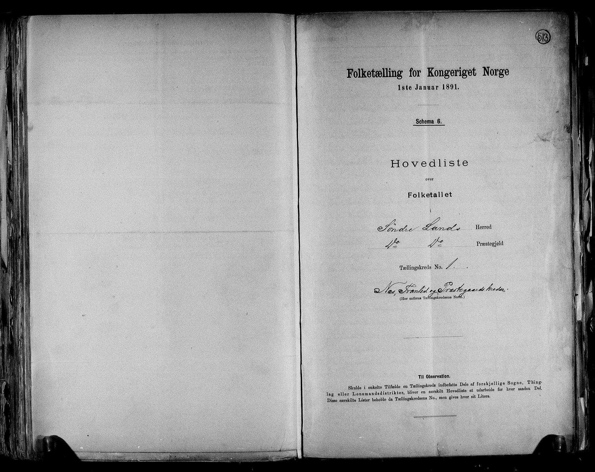 RA, Folketelling 1891 for 0536 Søndre Land herred, 1891, s. 4