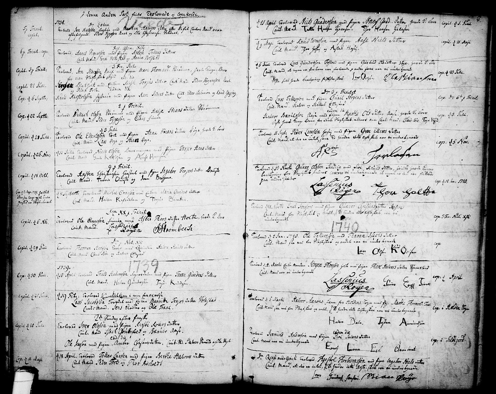 SAKO, Drangedal kirkebøker, F/Fa/L0001: Ministerialbok nr. 1, 1697-1767, s. 1-2