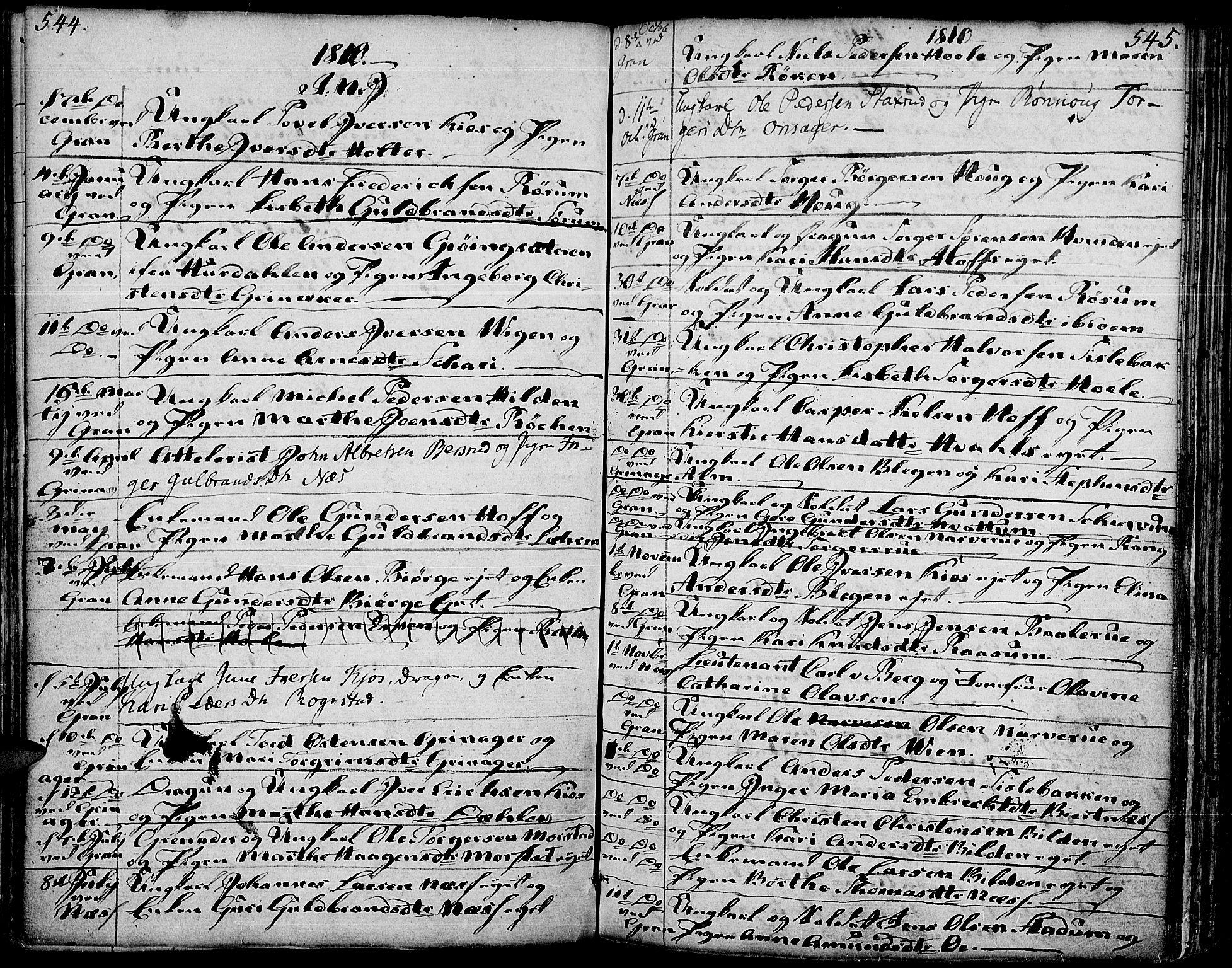 SAH, Gran prestekontor, Ministerialbok nr. 6, 1787-1824, s. 544-545