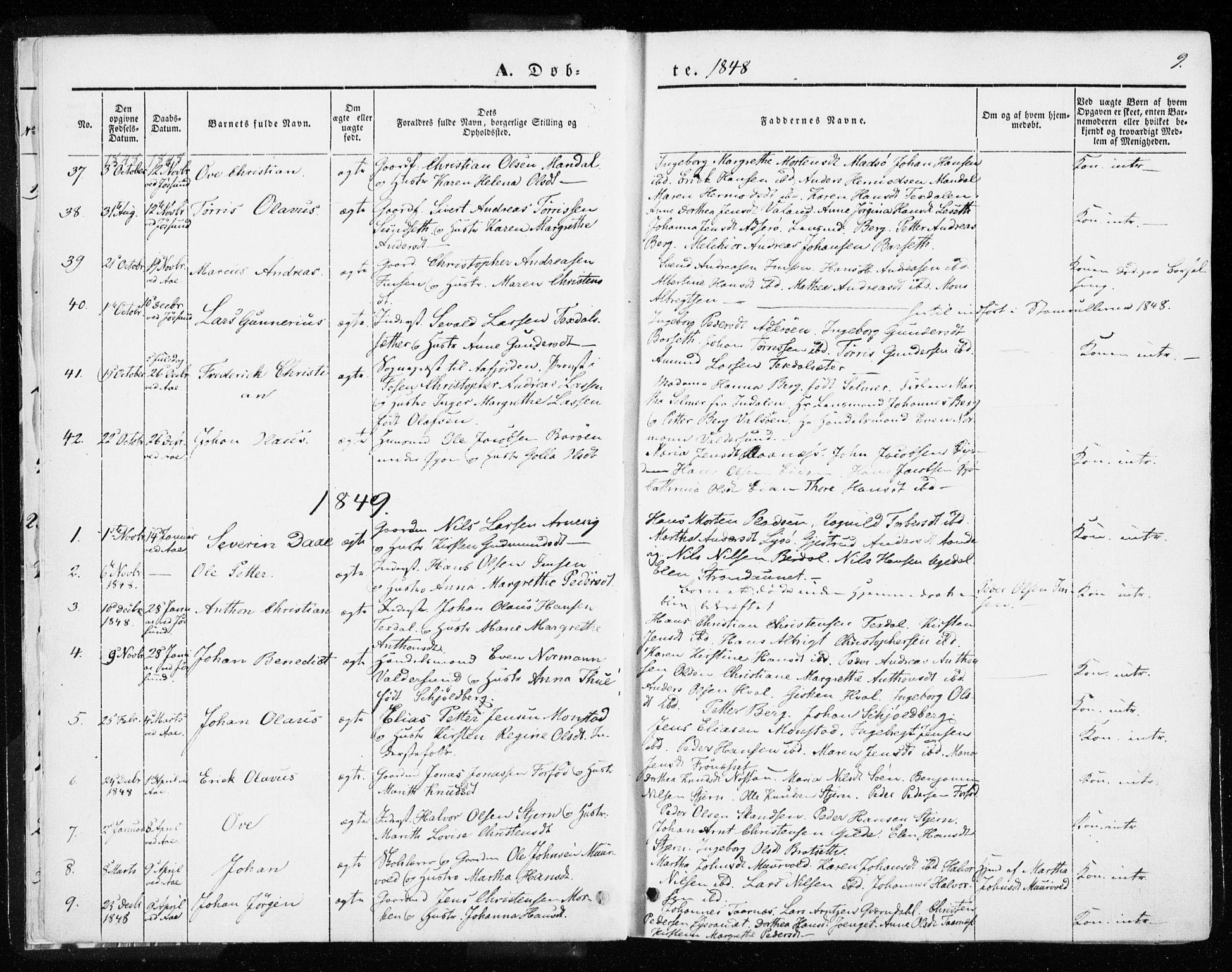 SAT, Ministerialprotokoller, klokkerbøker og fødselsregistre - Sør-Trøndelag, 655/L0677: Ministerialbok nr. 655A06, 1847-1860, s. 9