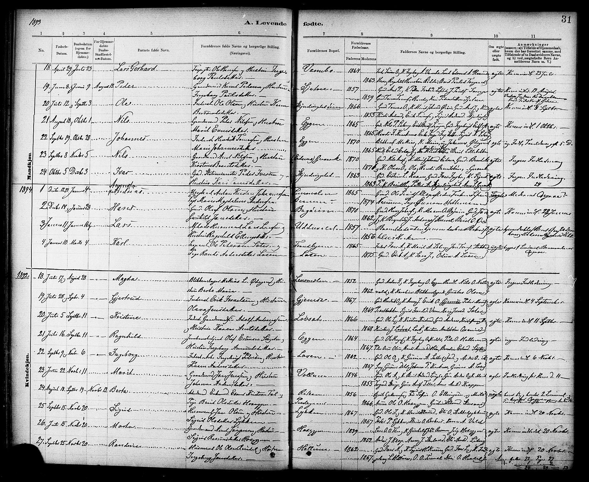 SAT, Ministerialprotokoller, klokkerbøker og fødselsregistre - Sør-Trøndelag, 691/L1094: Klokkerbok nr. 691C05, 1879-1911, s. 31