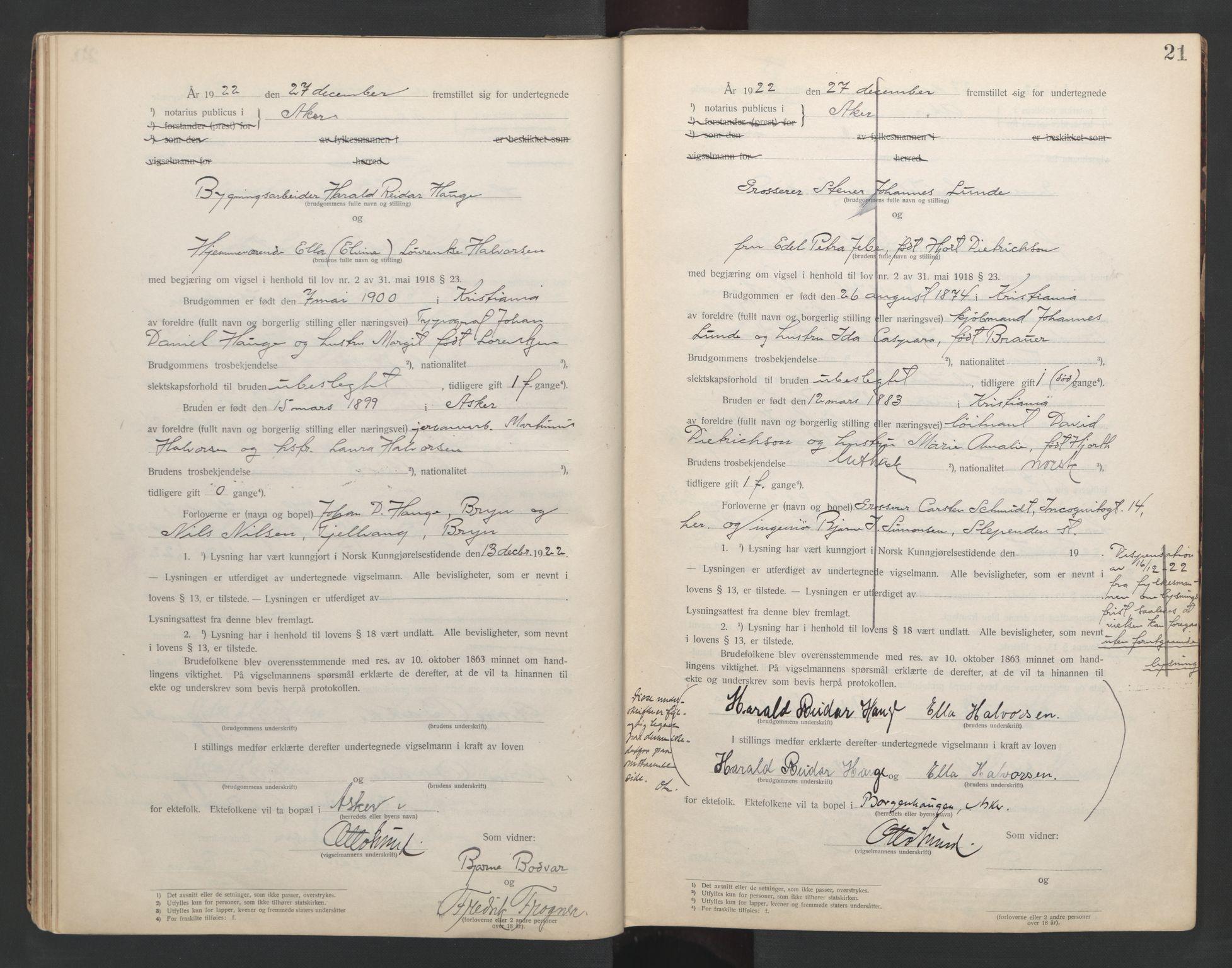 SAO, Aker sorenskriveri, L/Lc/Lcb/L0002: Vigselprotokoll, 1922-1924, s. 21
