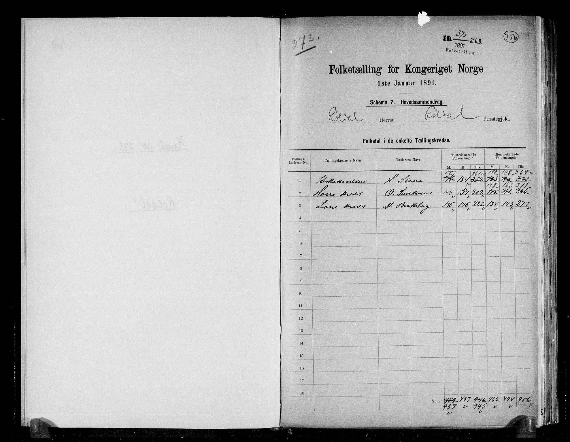 RA, Folketelling 1891 for 1229 Røldal herred, 1891, s. 2
