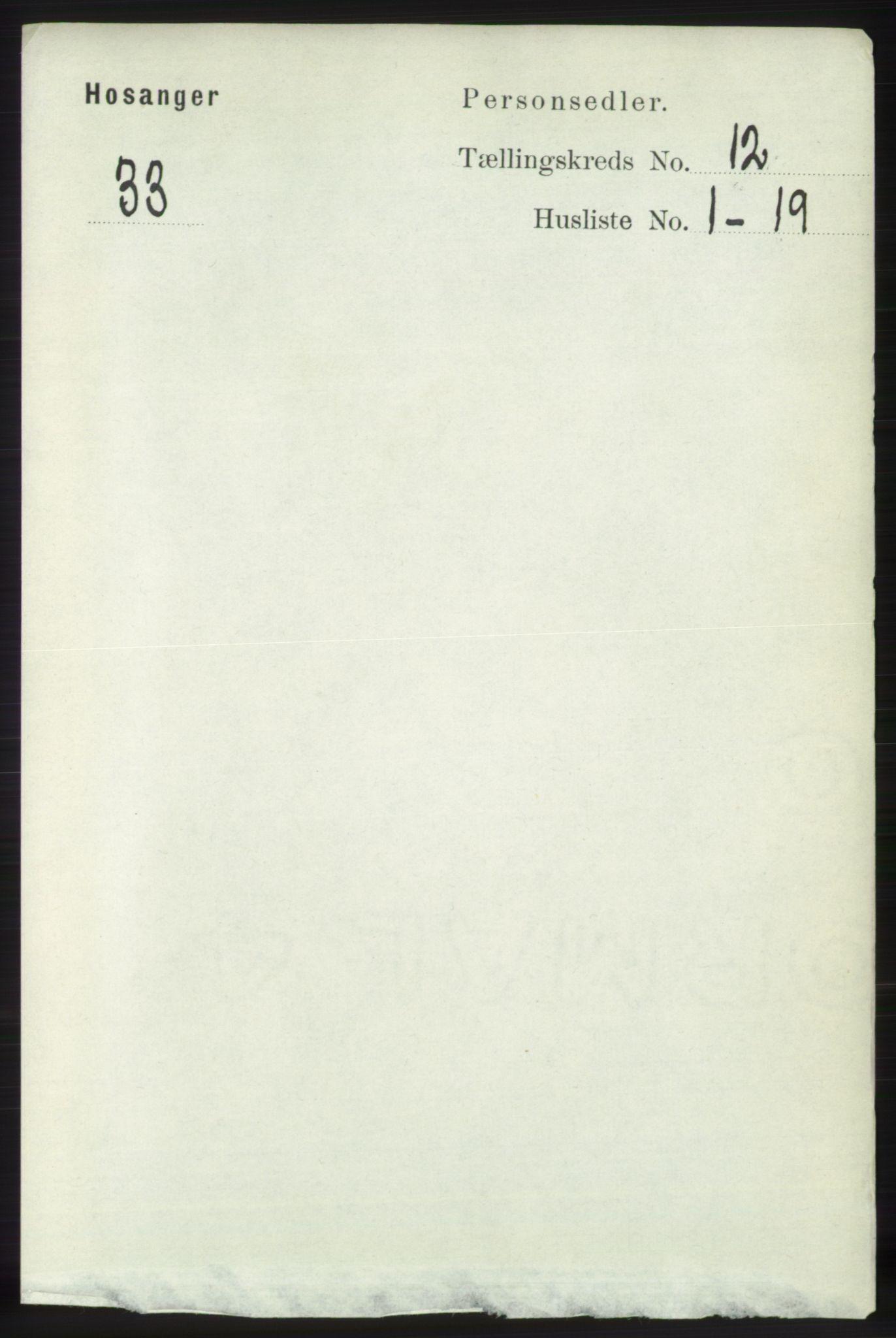 RA, Folketelling 1891 for 1253 Hosanger herred, 1891, s. 3997