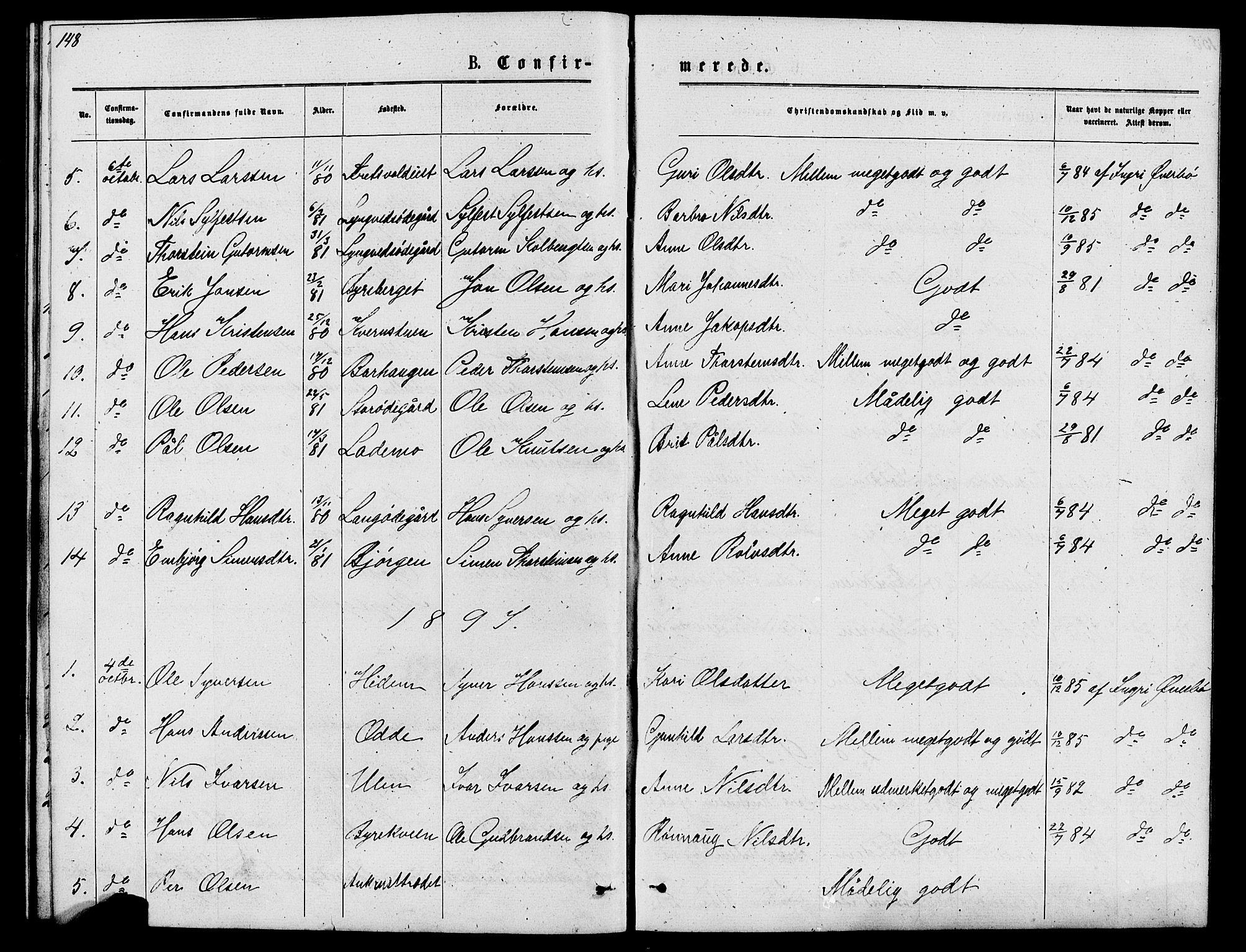 SAH, Lom prestekontor, L/L0005: Klokkerbok nr. 5, 1876-1901, s. 148-149
